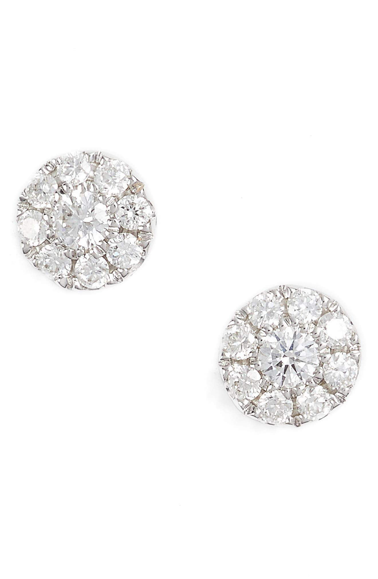 Simple Obsessions Pavé Diamond Stud Earrings,                             Main thumbnail 1, color,                             White Gold