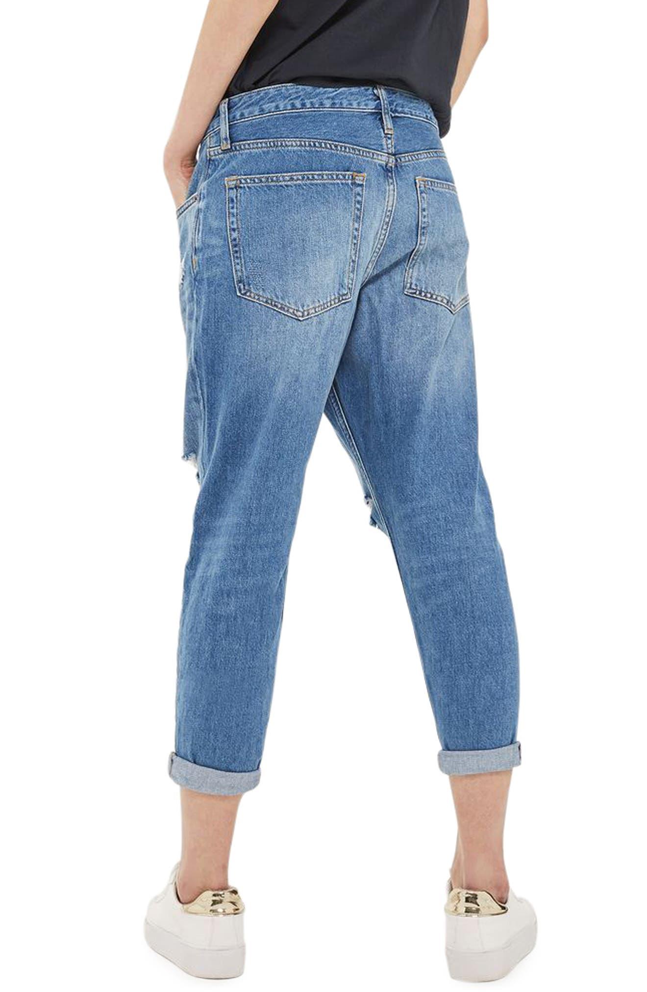 Hayden Ripped Boyfriend Jeans,                             Alternate thumbnail 3, color,                             Mid Denim