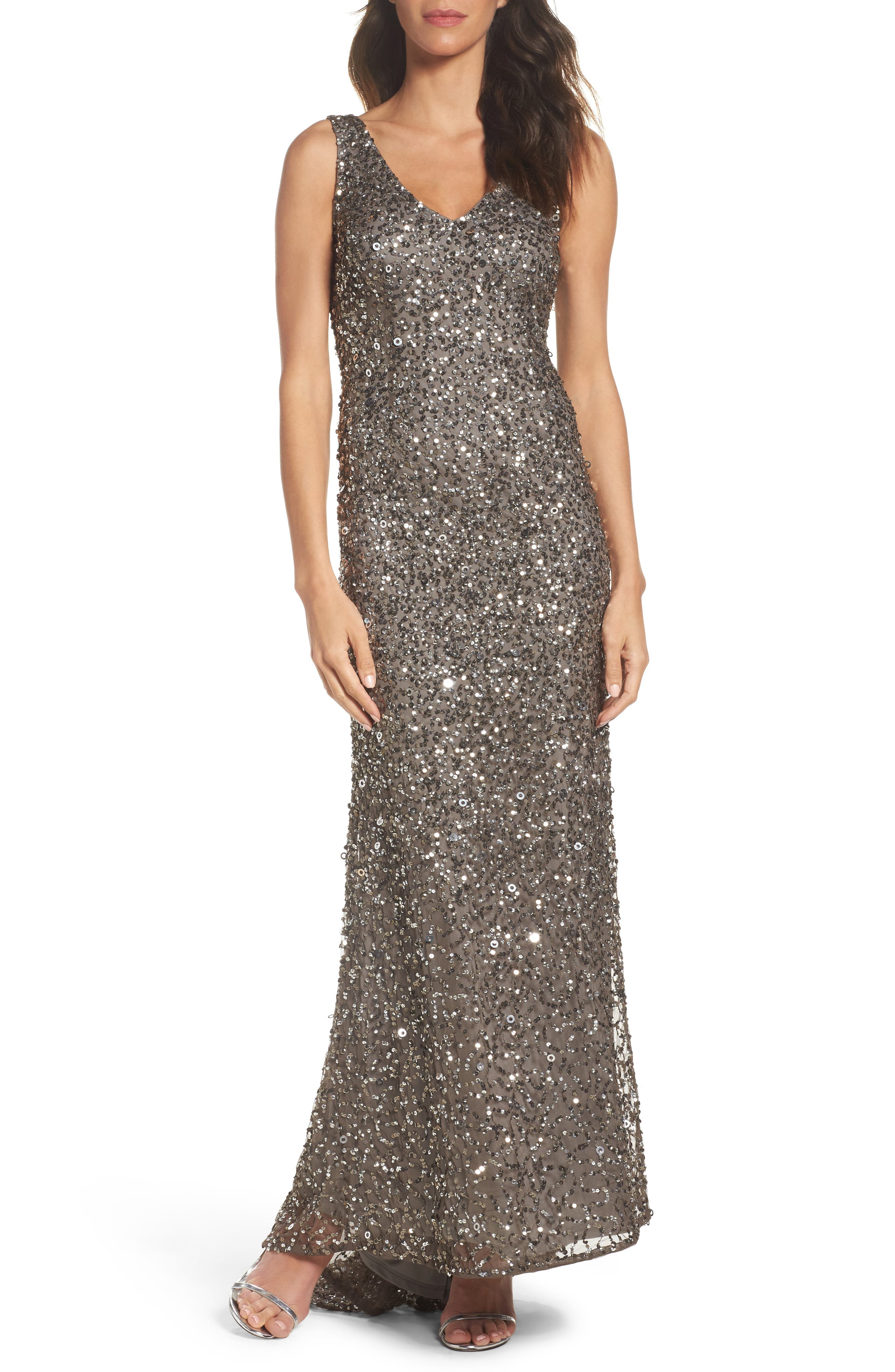 Adrianna Papell Sequin Gown (Regular & Petite)