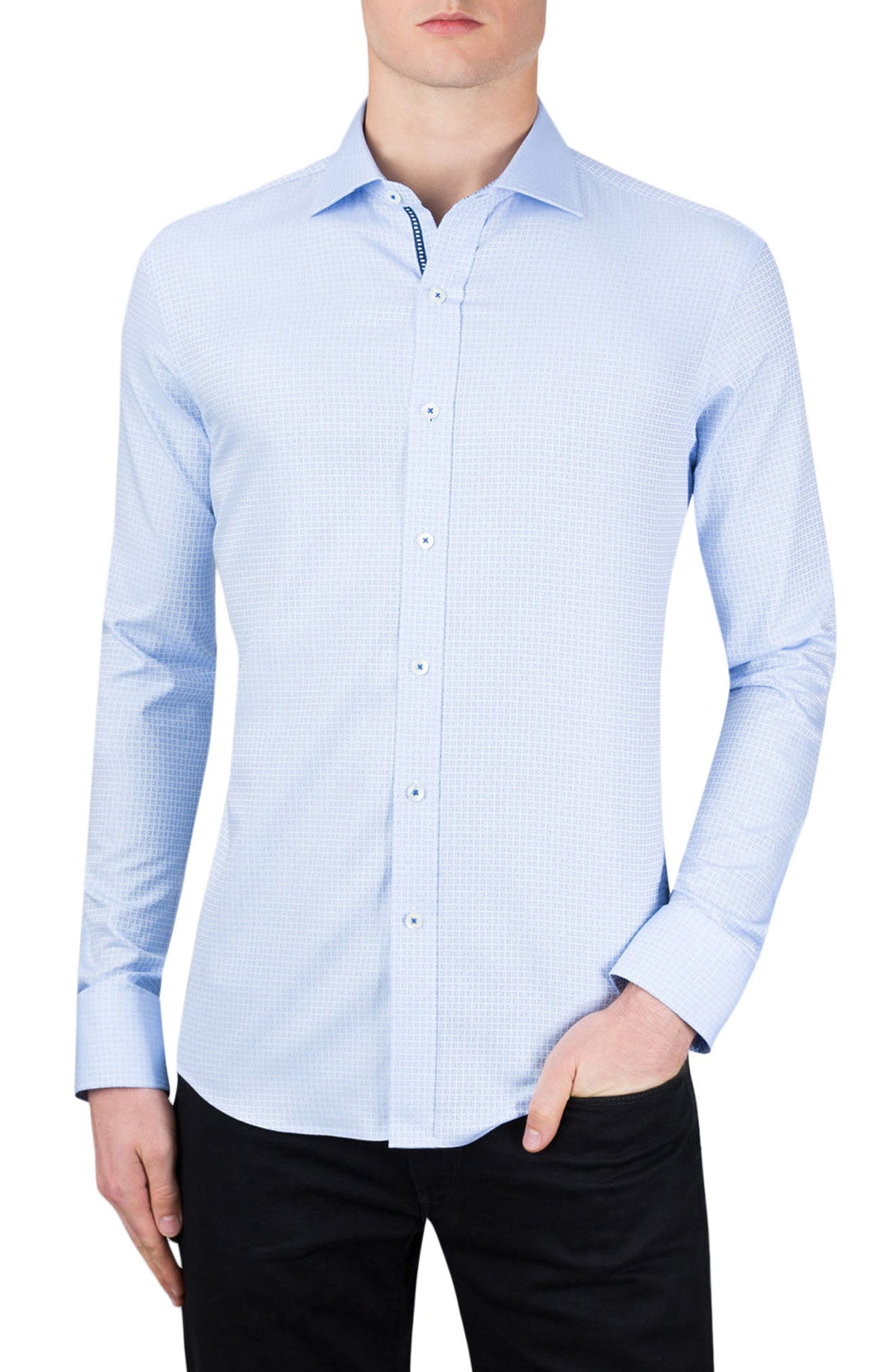 Shaped Fit Sport Shirt,                         Main,                         color, Sky