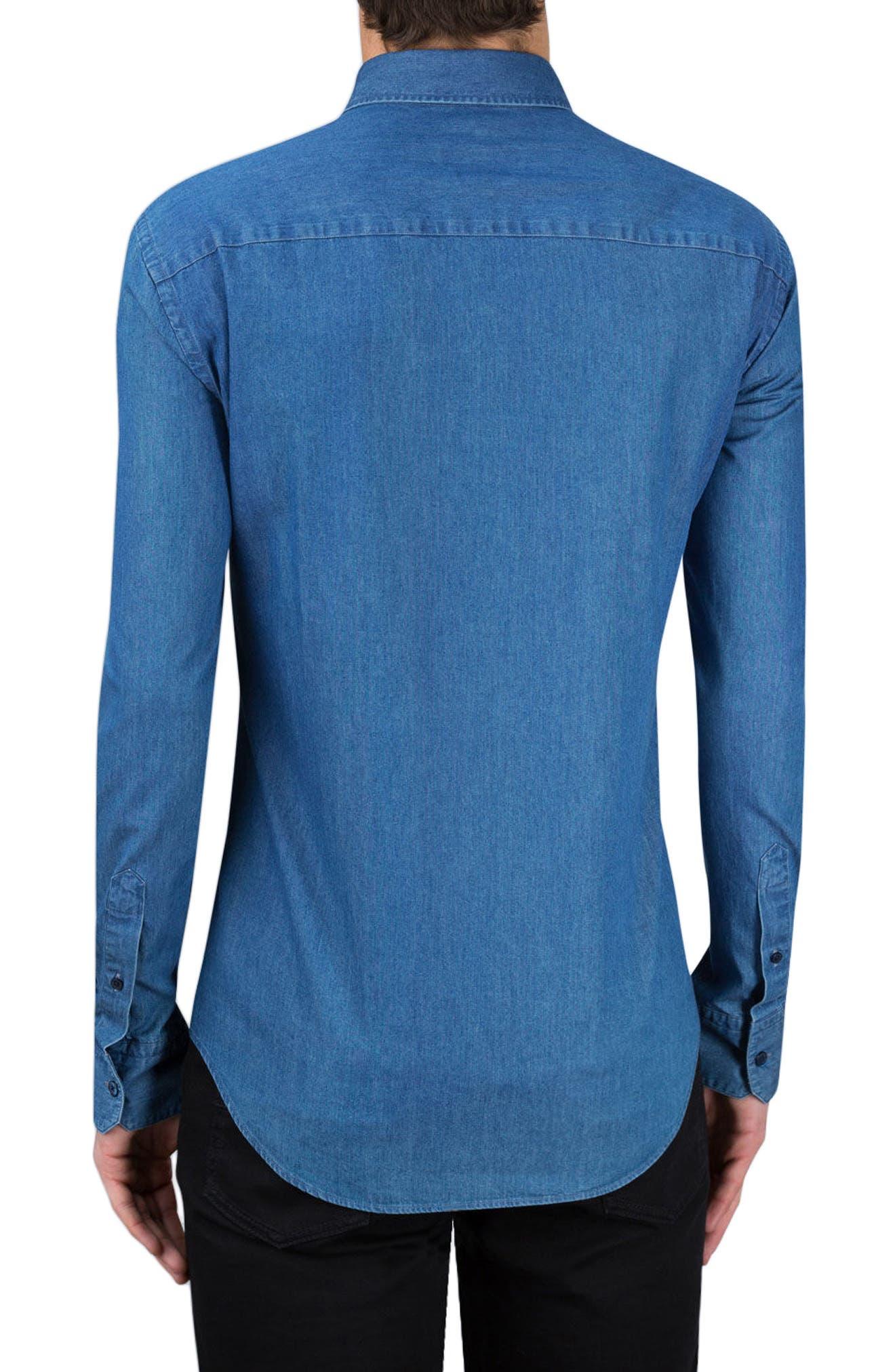 Classic Fit Chambray Sport Shirt,                             Alternate thumbnail 2, color,                             Denim