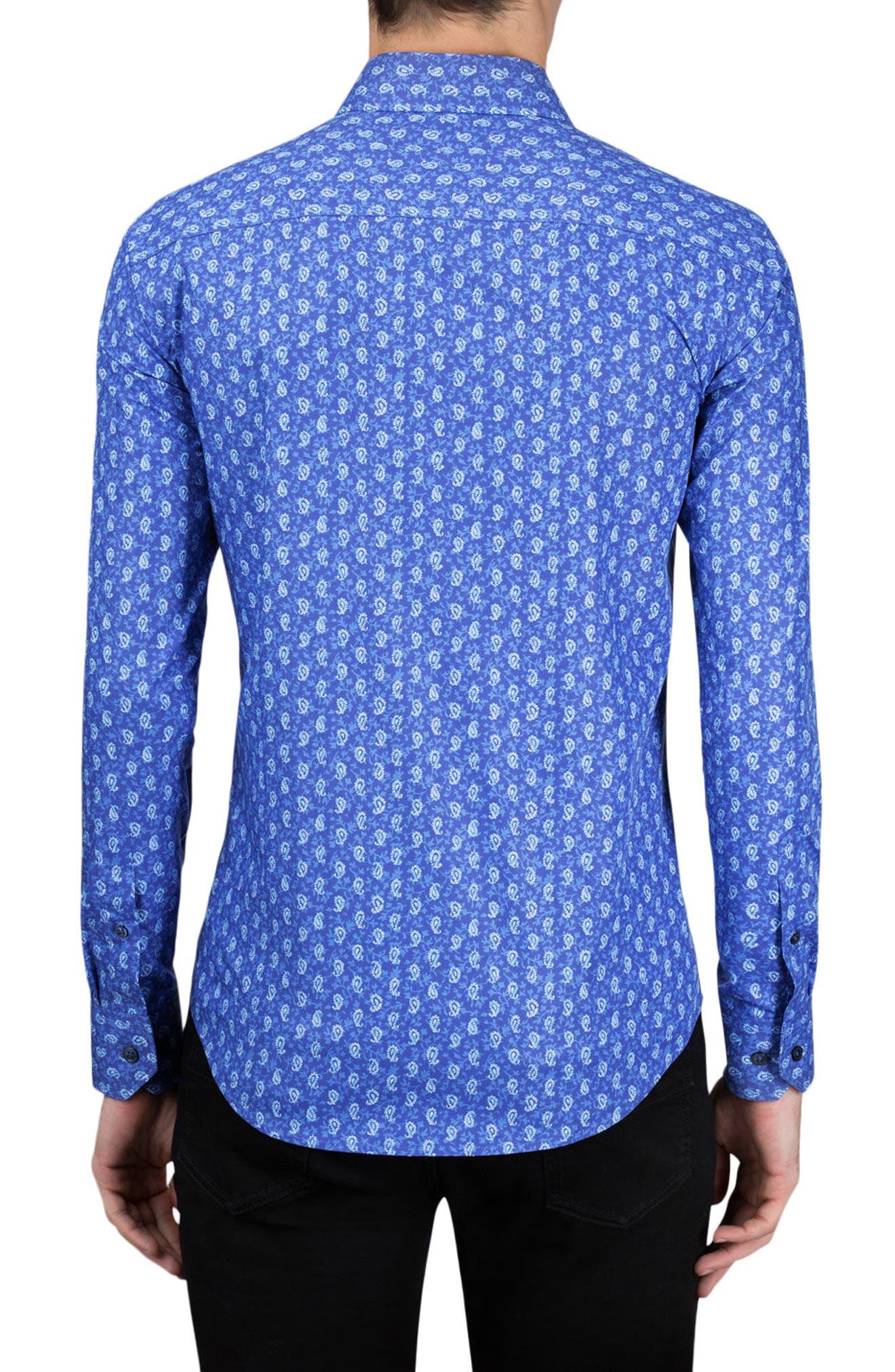 Shaped Fit Paisley Sport Shirt,                             Alternate thumbnail 2, color,                             Night Blue