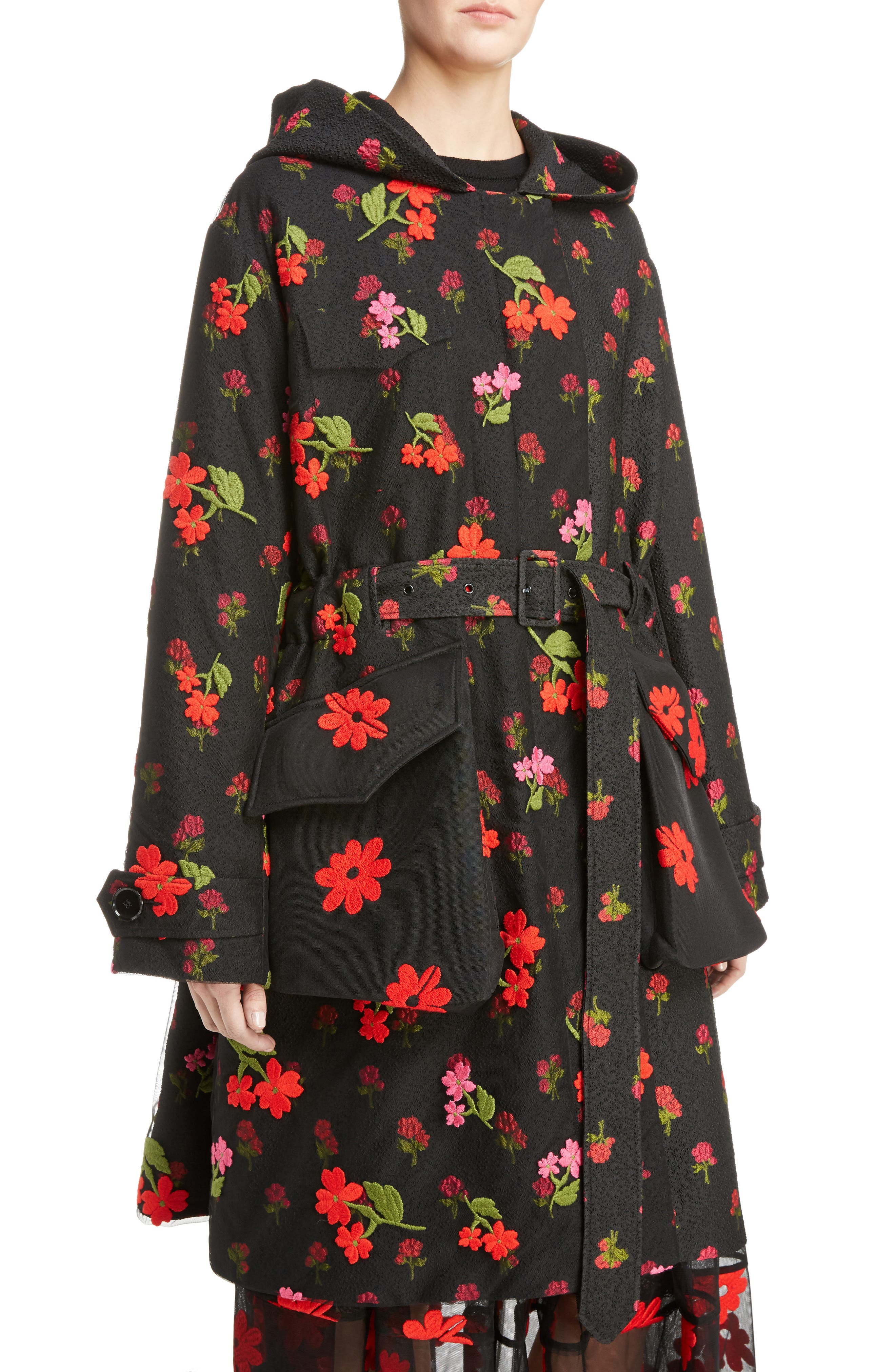 Floral Embroidered Cloqué Parka,                         Main,                         color, Black Red