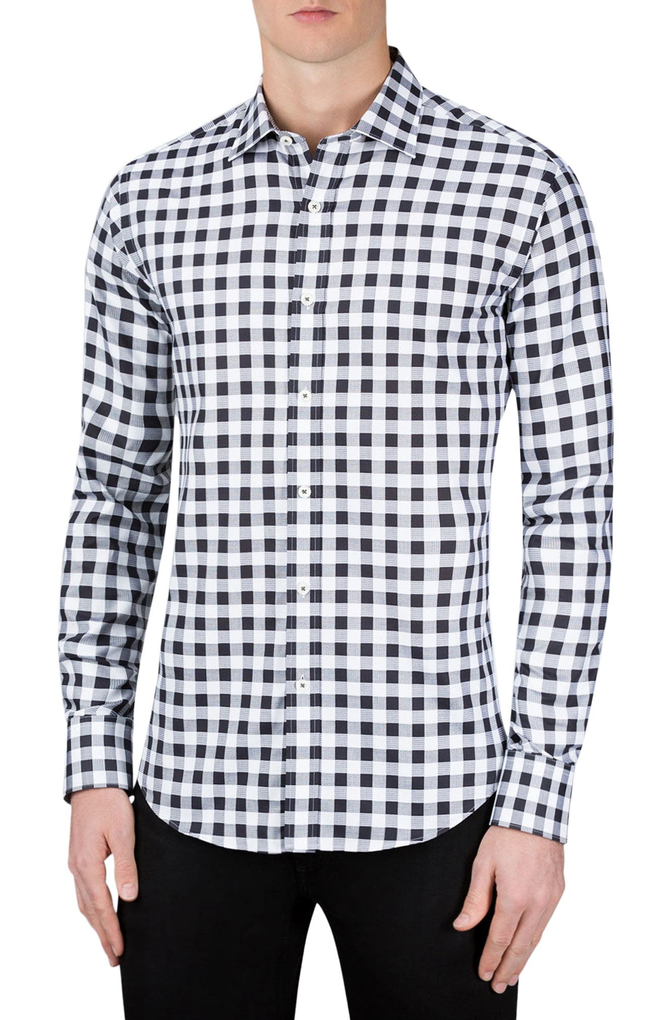 Shaped Fit Check Sport Shirt,                         Main,                         color, Black