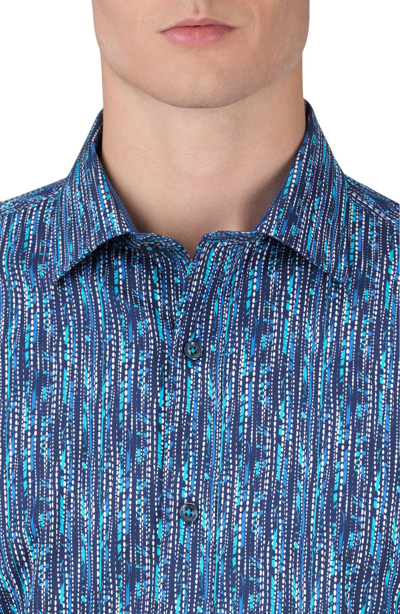 Classic Fit Graphic Sport Shirt,                             Alternate thumbnail 3, color,                             Navy