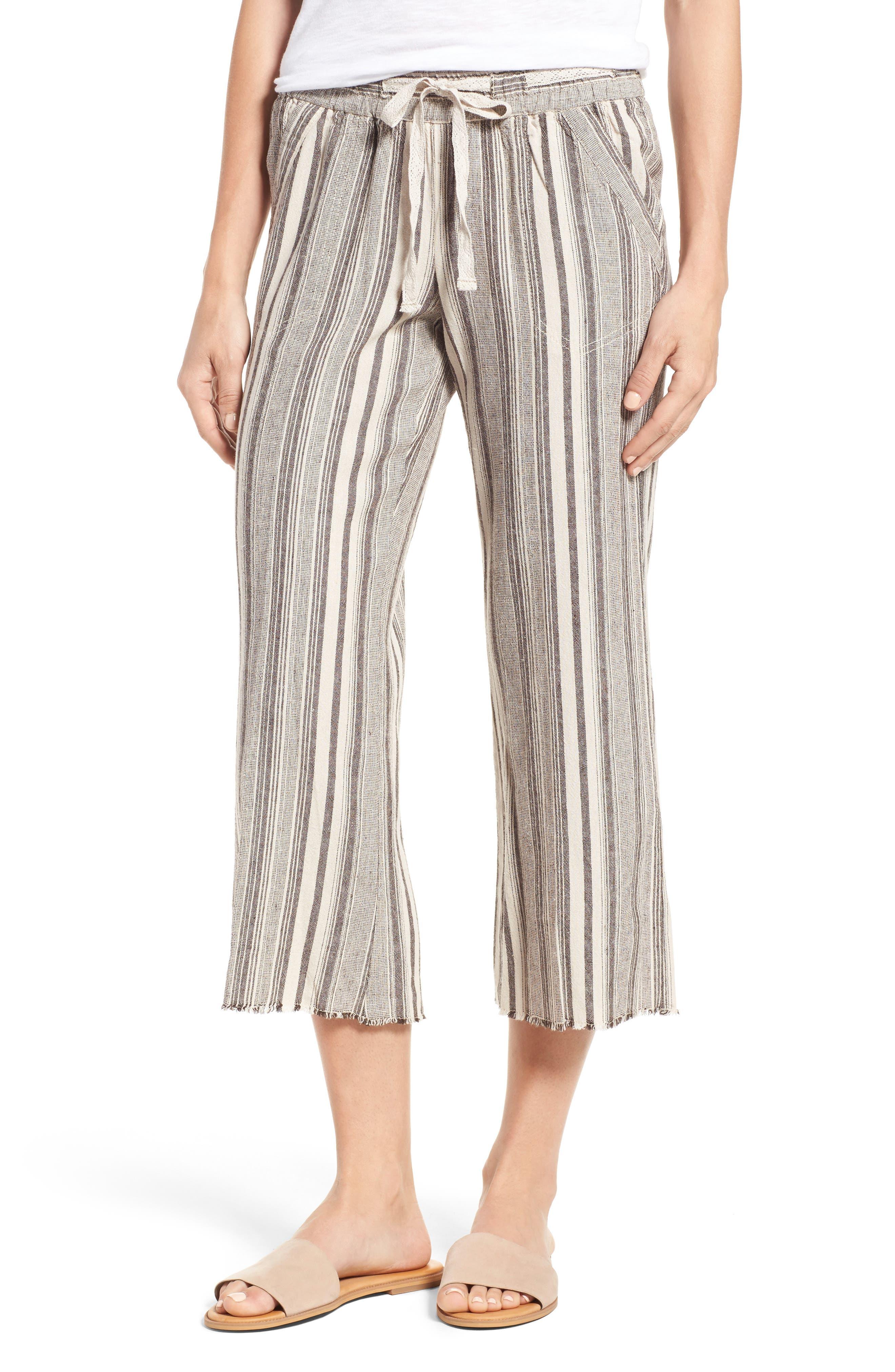 Alternate Image 1 Selected - Wit & Wisdom Drawstring Stripe Crop Sailor Pants (Nordstrom Exclusive) (Regular & Petite)