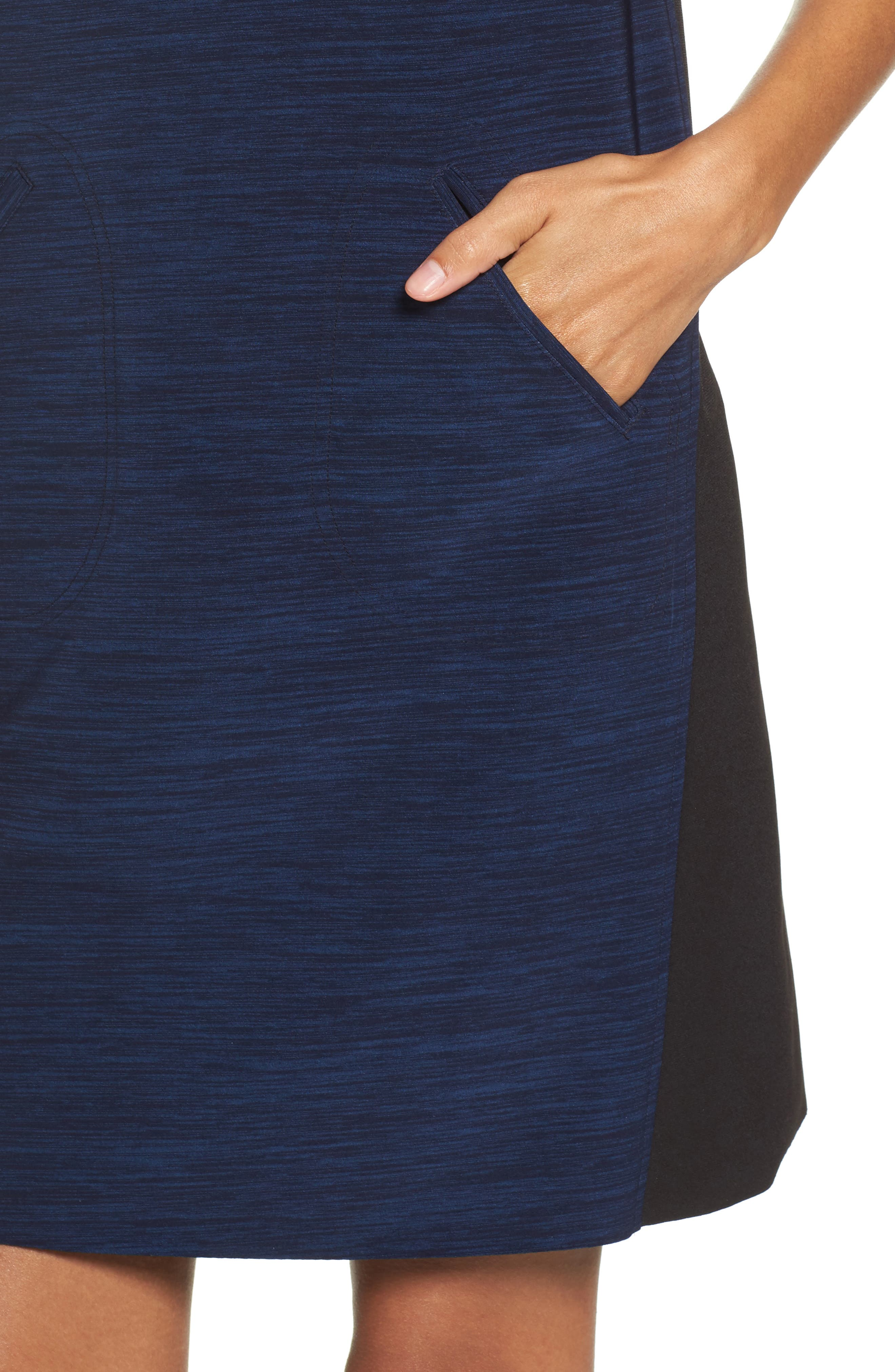 Turtleneck Shift Dress,                             Alternate thumbnail 5, color,                             Black Navy
