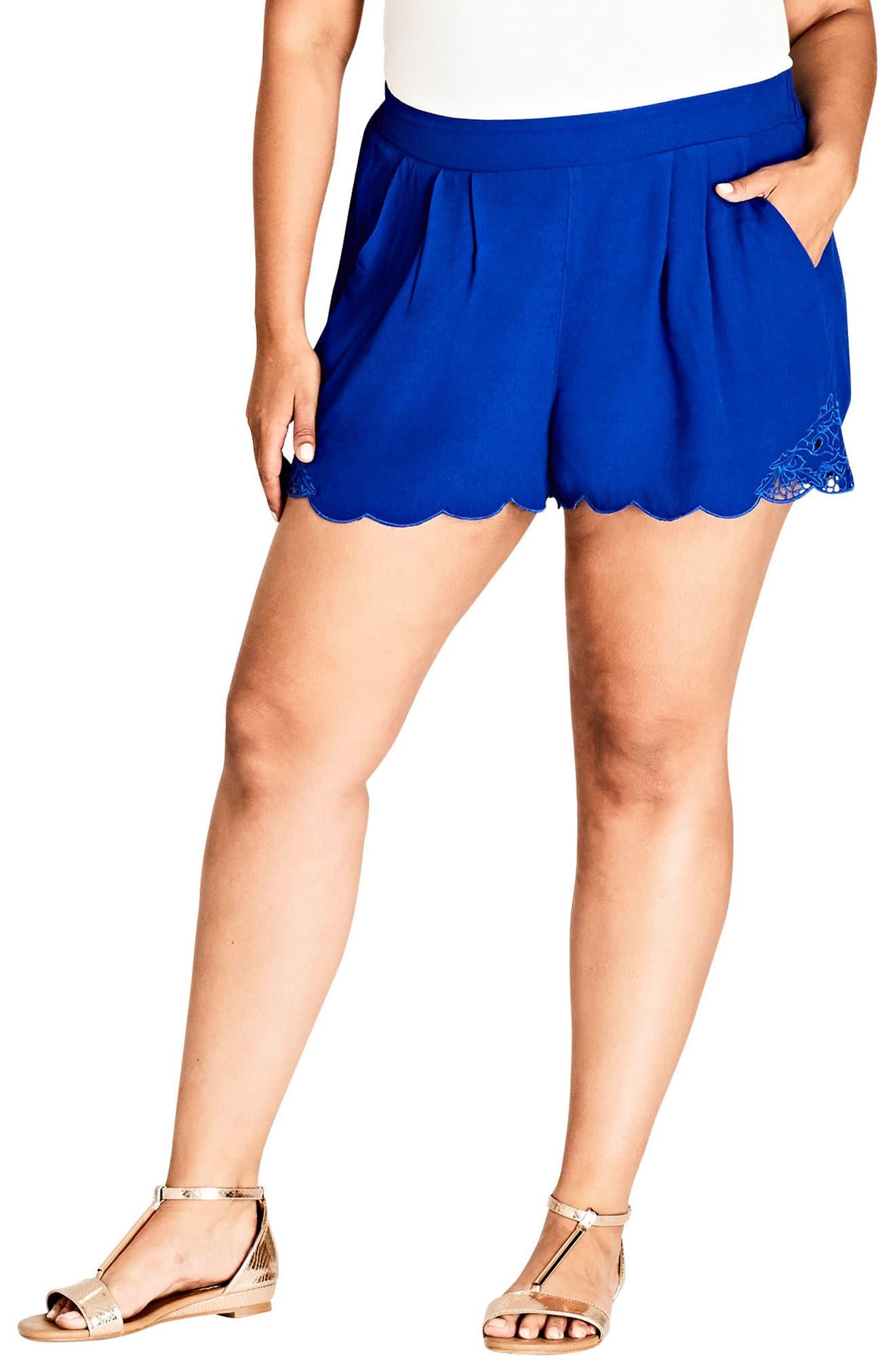 Scalloped Lace Shorts,                         Main,                         color, Cobalt