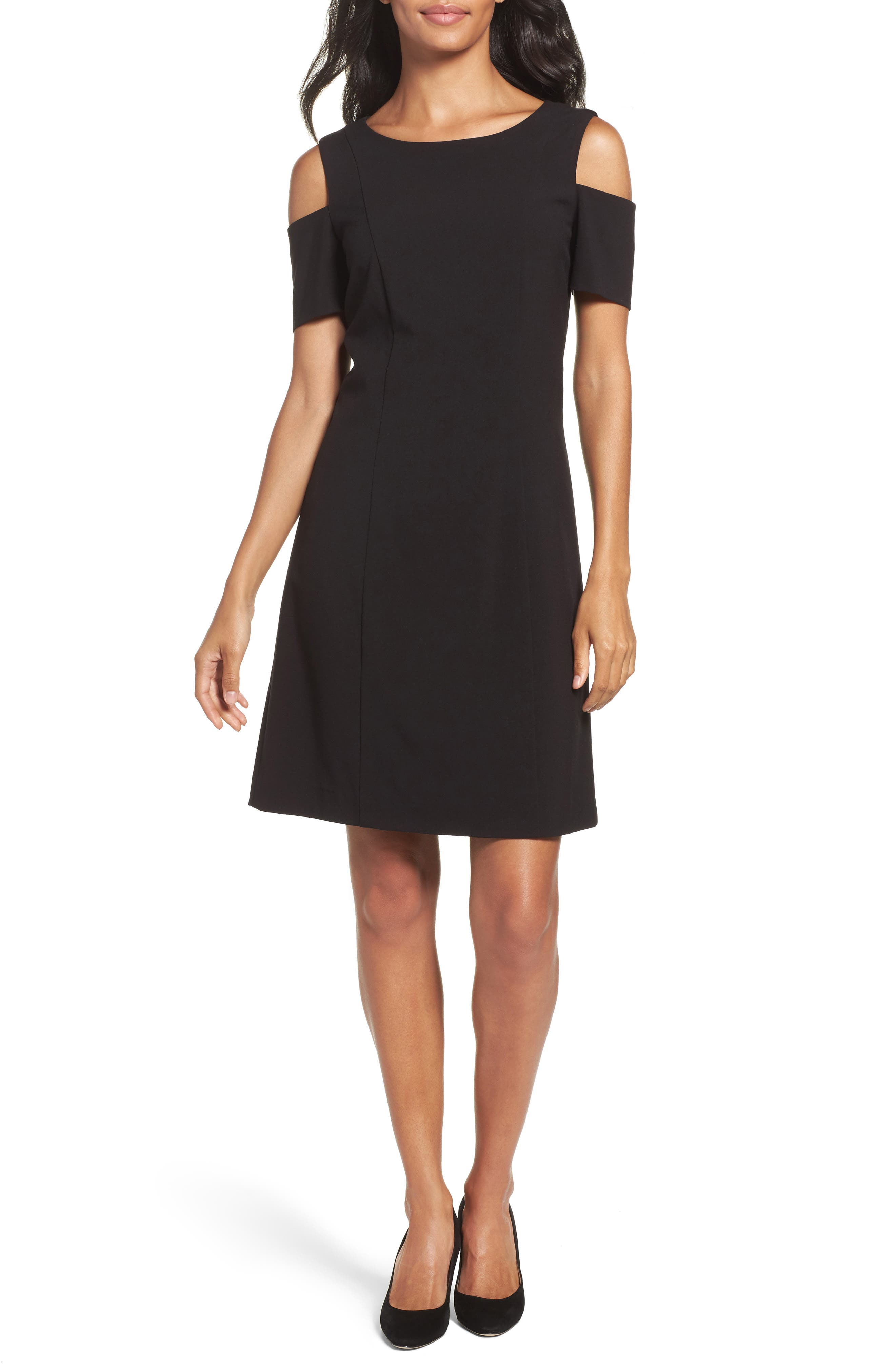 Cold Shoulder Sheath Dress,                         Main,                         color, Black