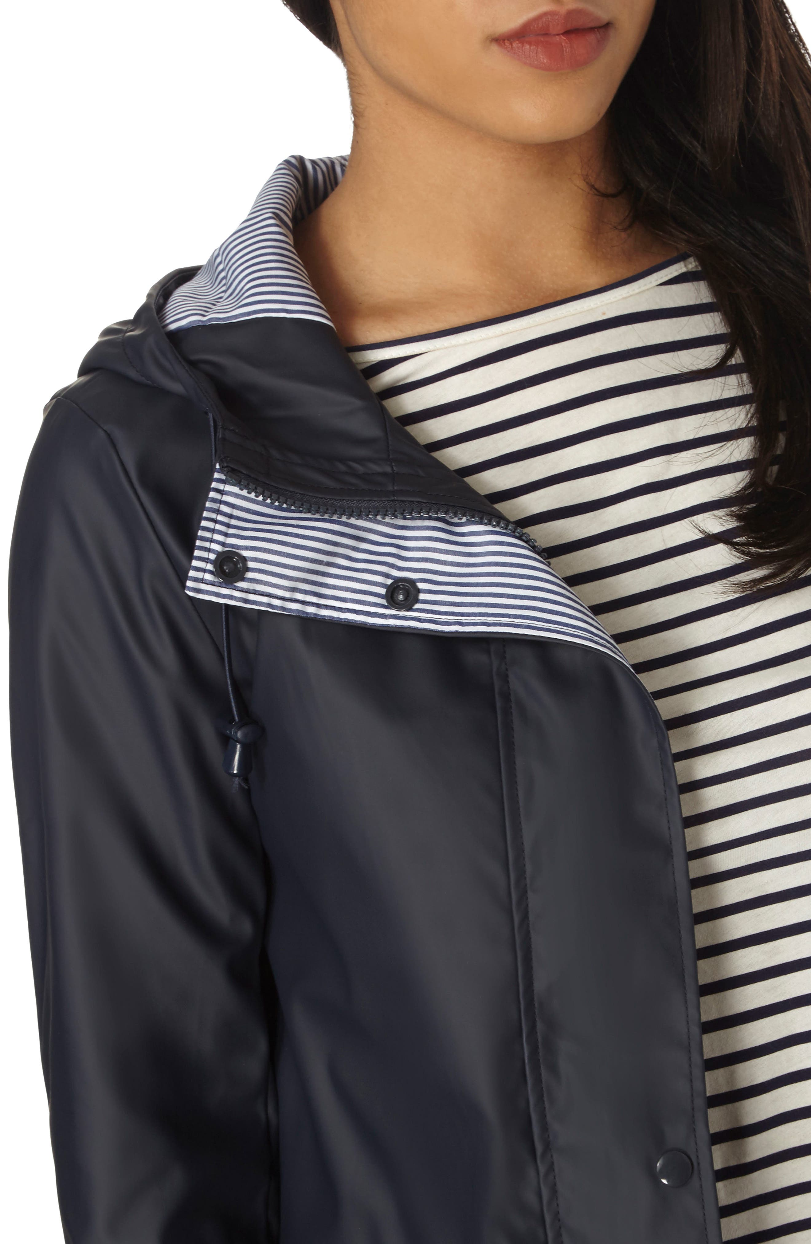 Hooded Rain Jacket,                             Alternate thumbnail 4, color,                             Navy Blue