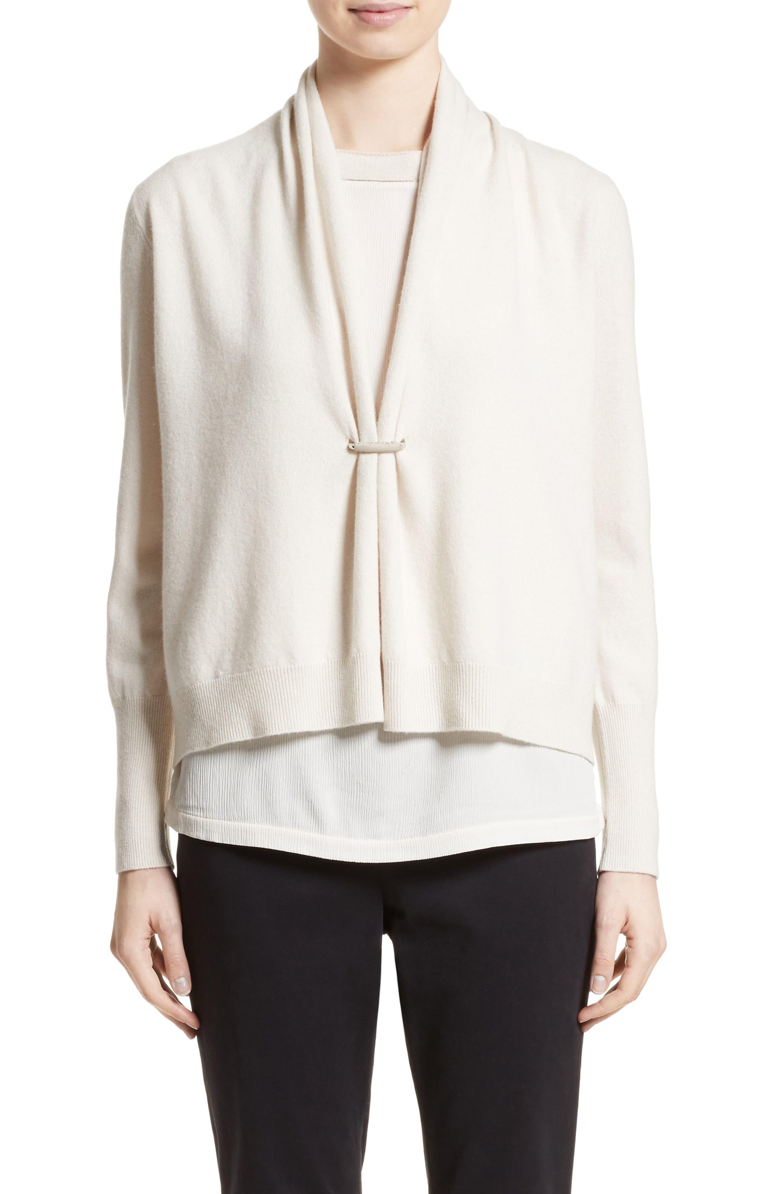 Wool, Silk & Cashmere Shawl Collar Cardigan,                         Main,                         color, Ecru