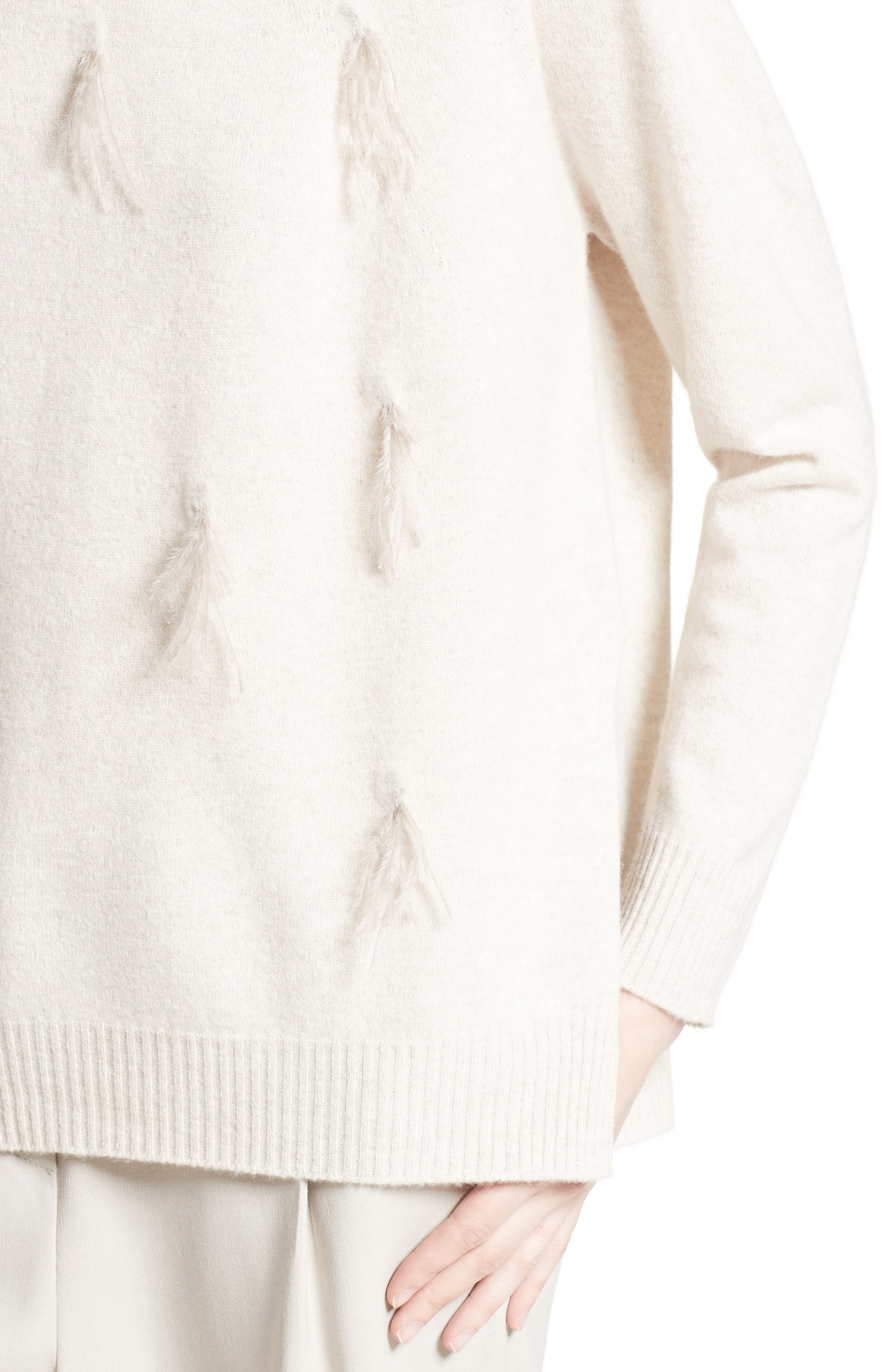 Needle Punch Ostrich Feather Trim Sweater,                             Alternate thumbnail 6, color,                             Oatmeal