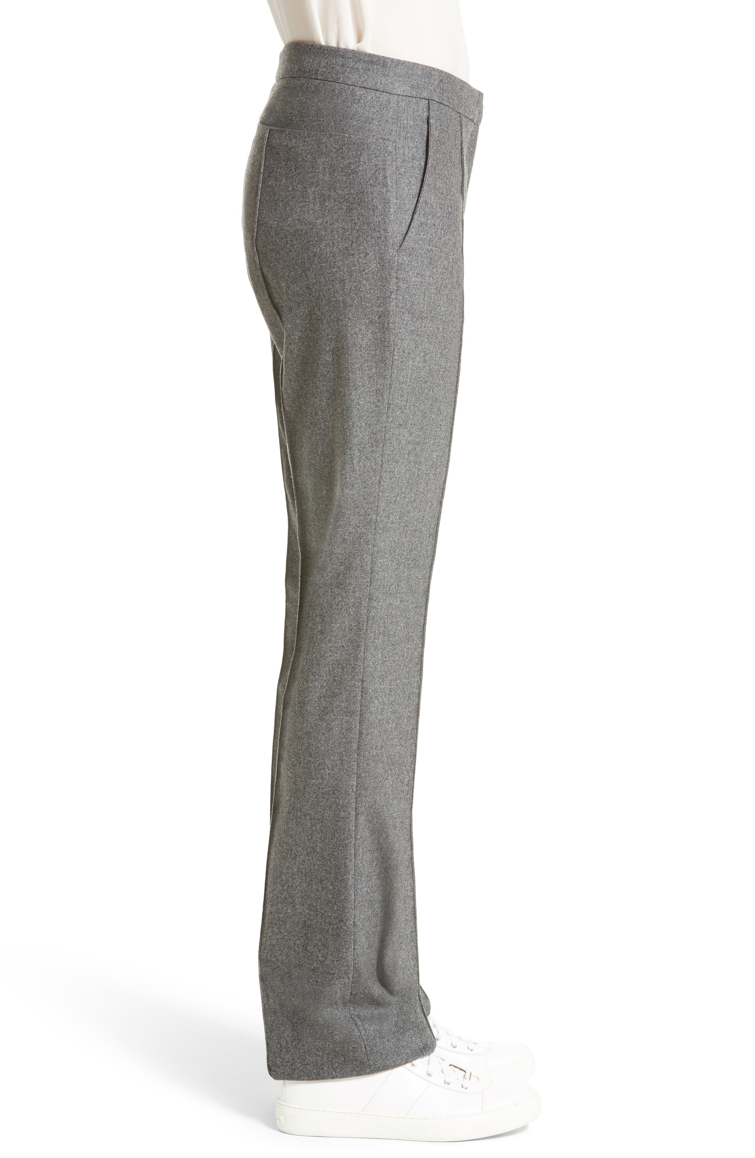 High Waist Flannel Trousers,                             Alternate thumbnail 5, color,                             Grey
