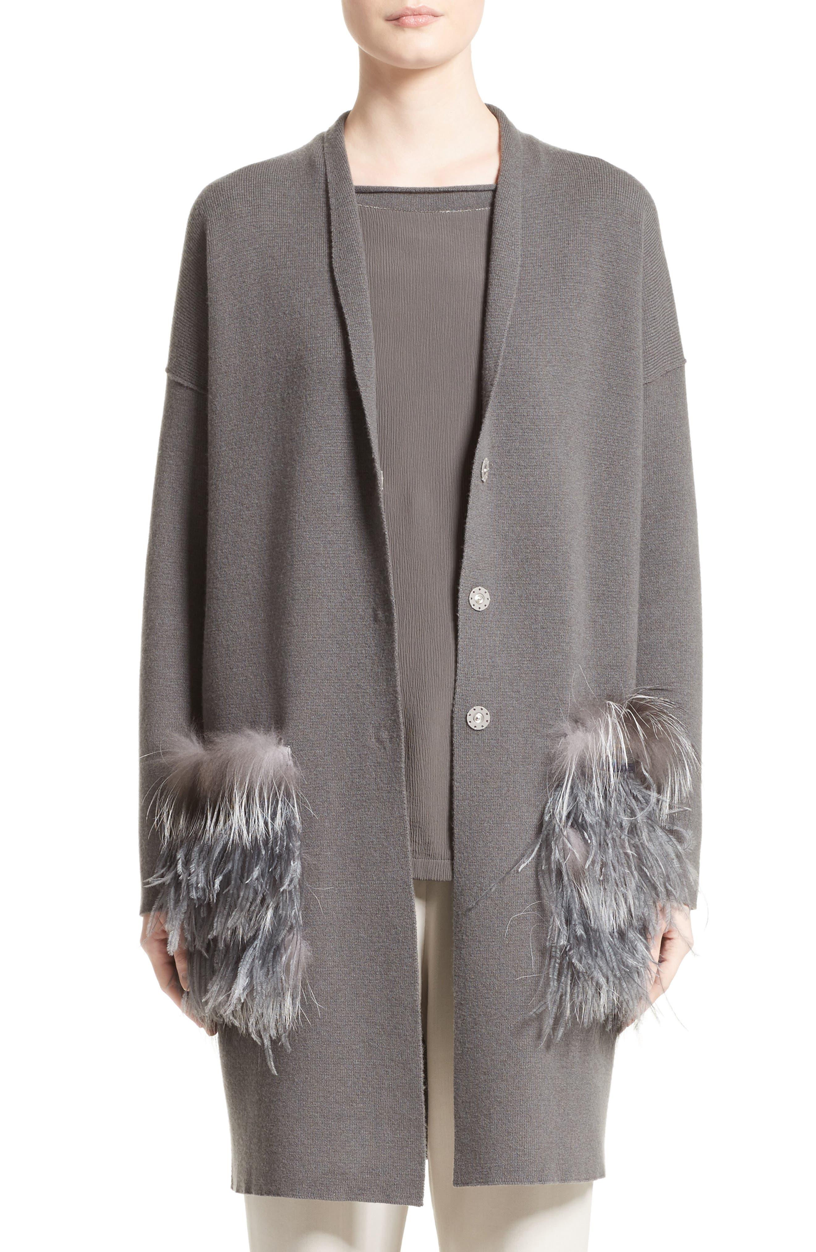 Fabiana Filippi Wool, Silk & Cashmere Cardigan with Genuine Fox Fur & Ostrich Feather Trim