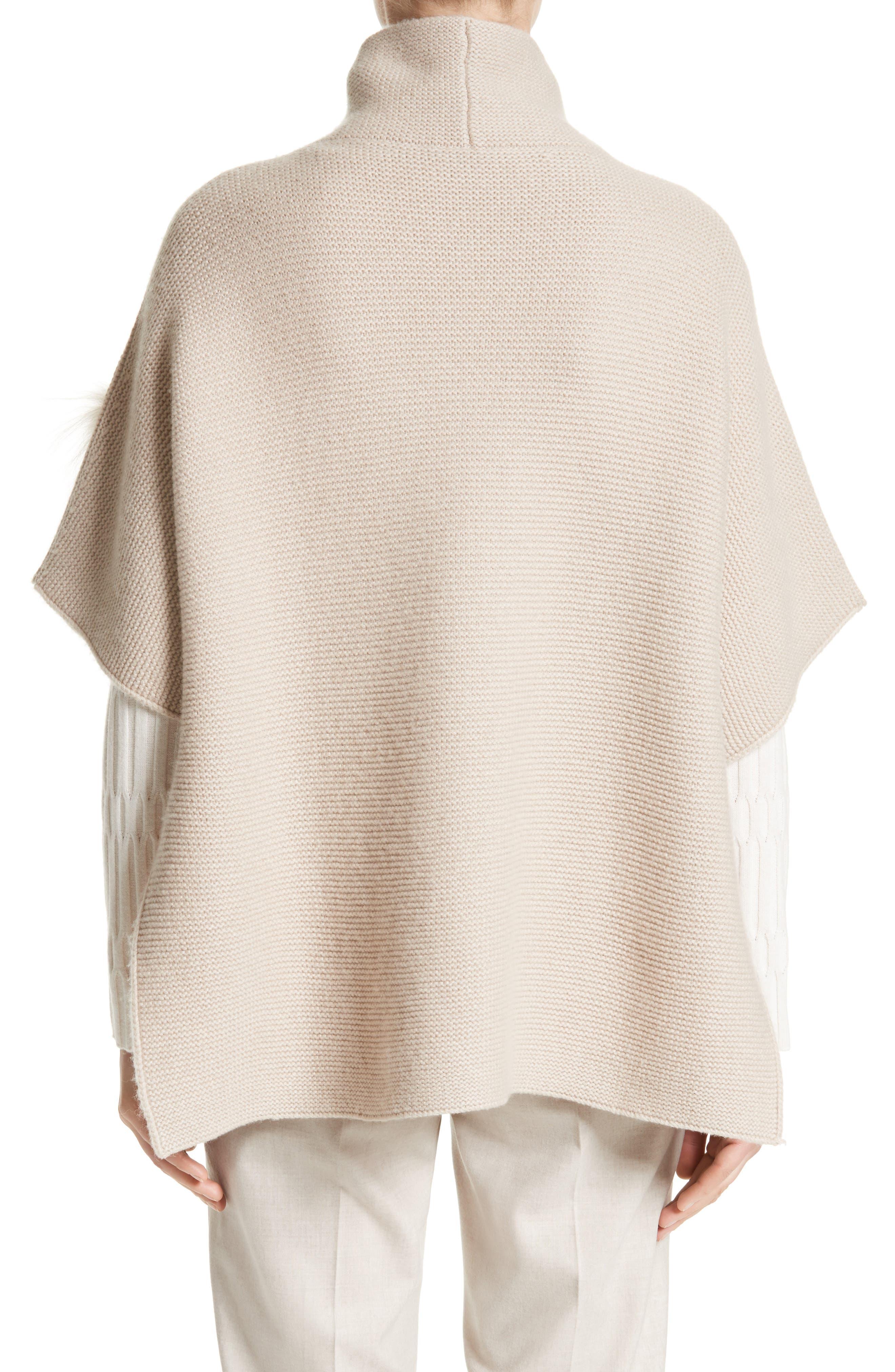 Alternate Image 2  - Fabiana Filippi Micro Braid Cashmere Zip Cardigan with Genuine Fox Fur Trim