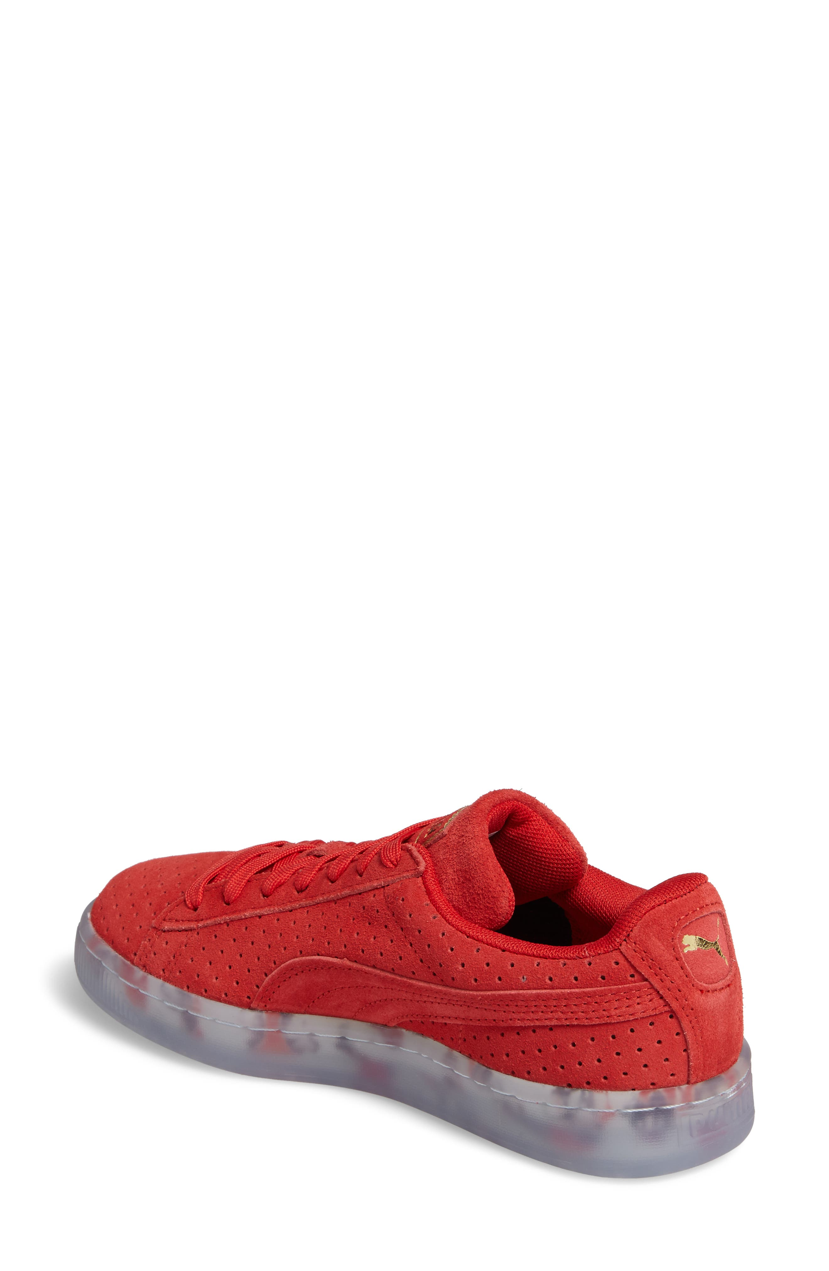 Suede Classic Perforated Sneaker,                             Alternate thumbnail 2, color,                             High Risk Red/ Puma White