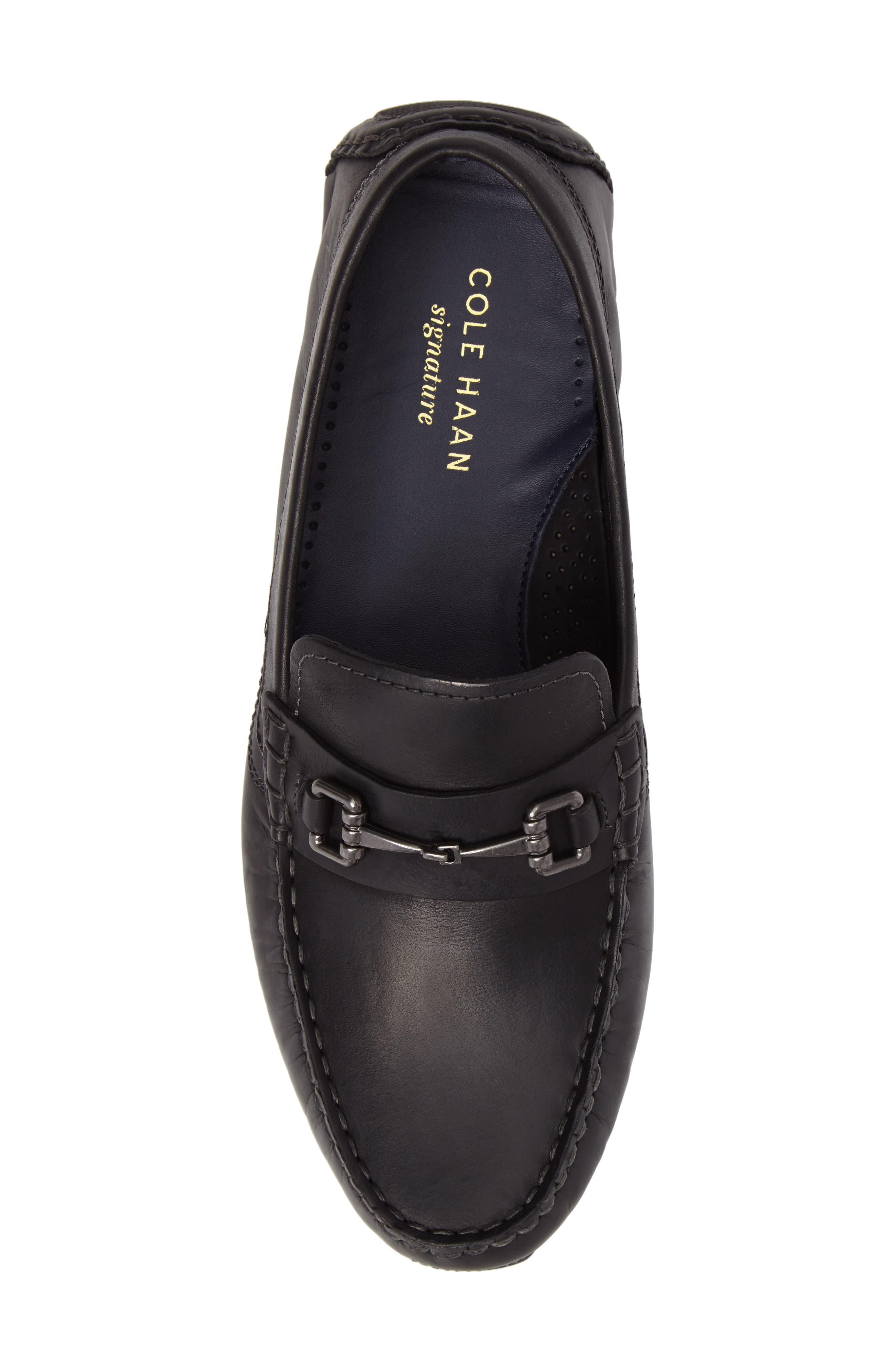 Kelson Bit Driving Shoe,                             Alternate thumbnail 5, color,                             Black Leather