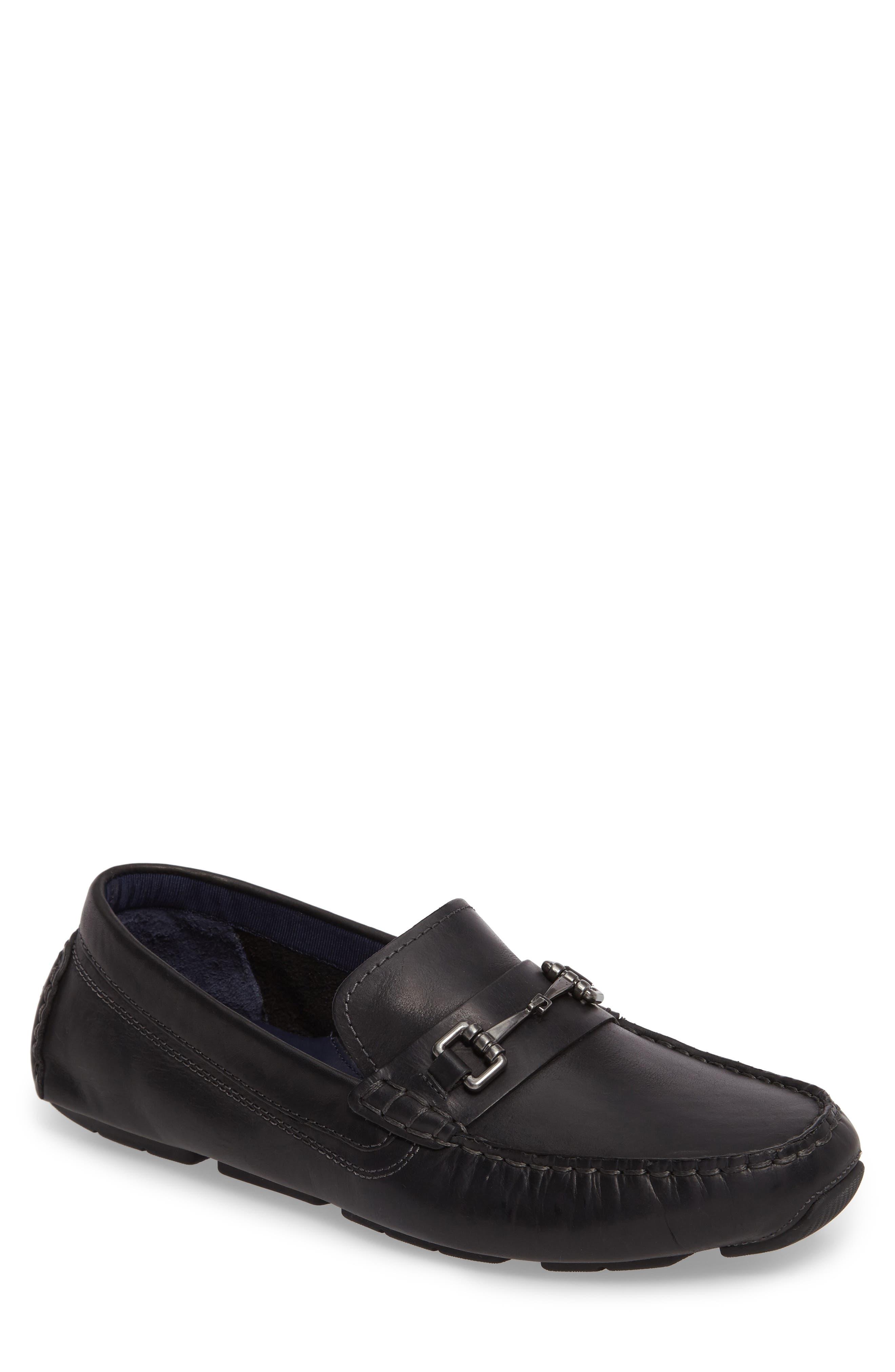 Kelson Bit Driving Shoe,                             Main thumbnail 1, color,                             Black Leather