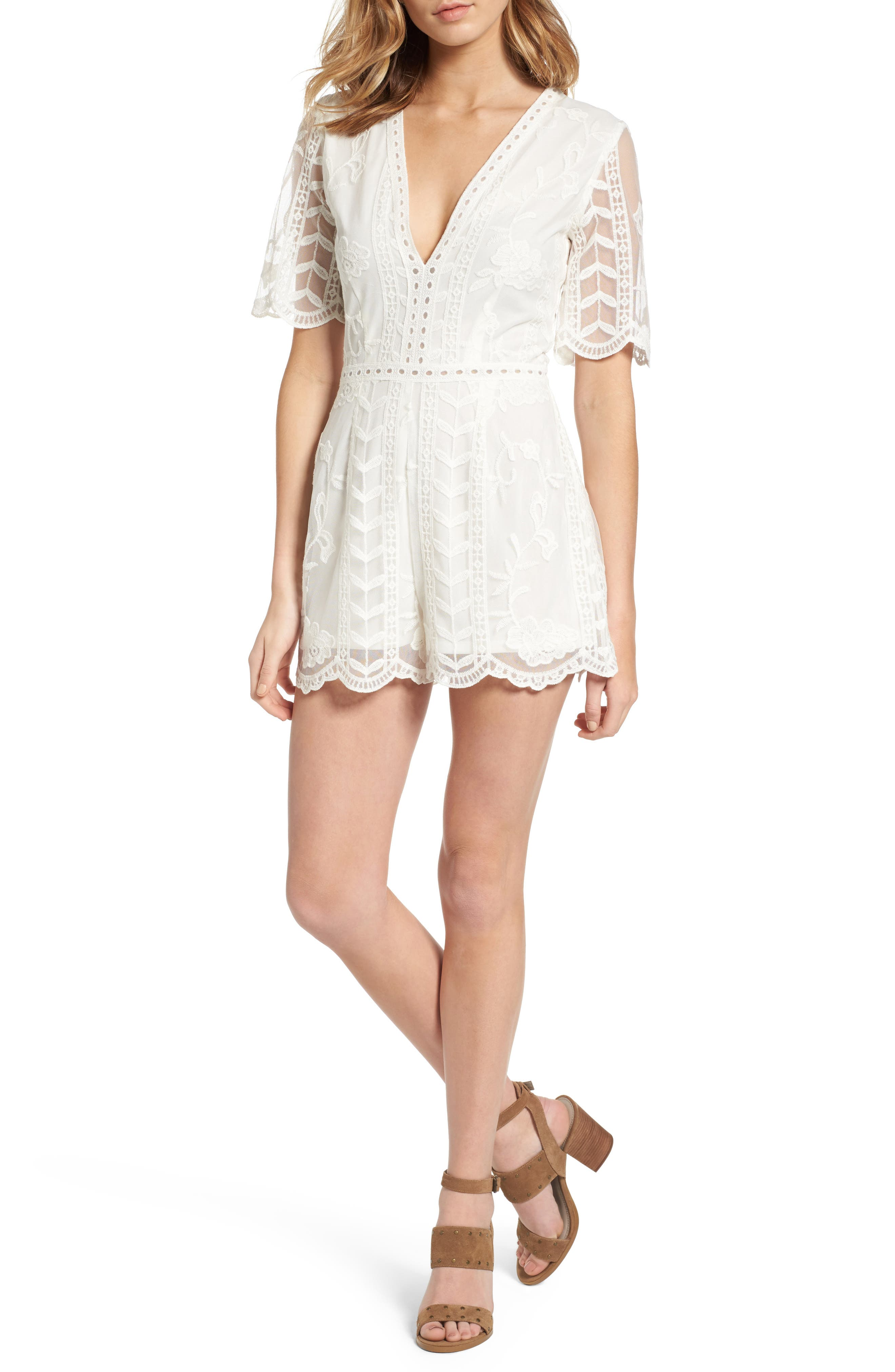 Plunging Lace Romper,                         Main,                         color, Ivory