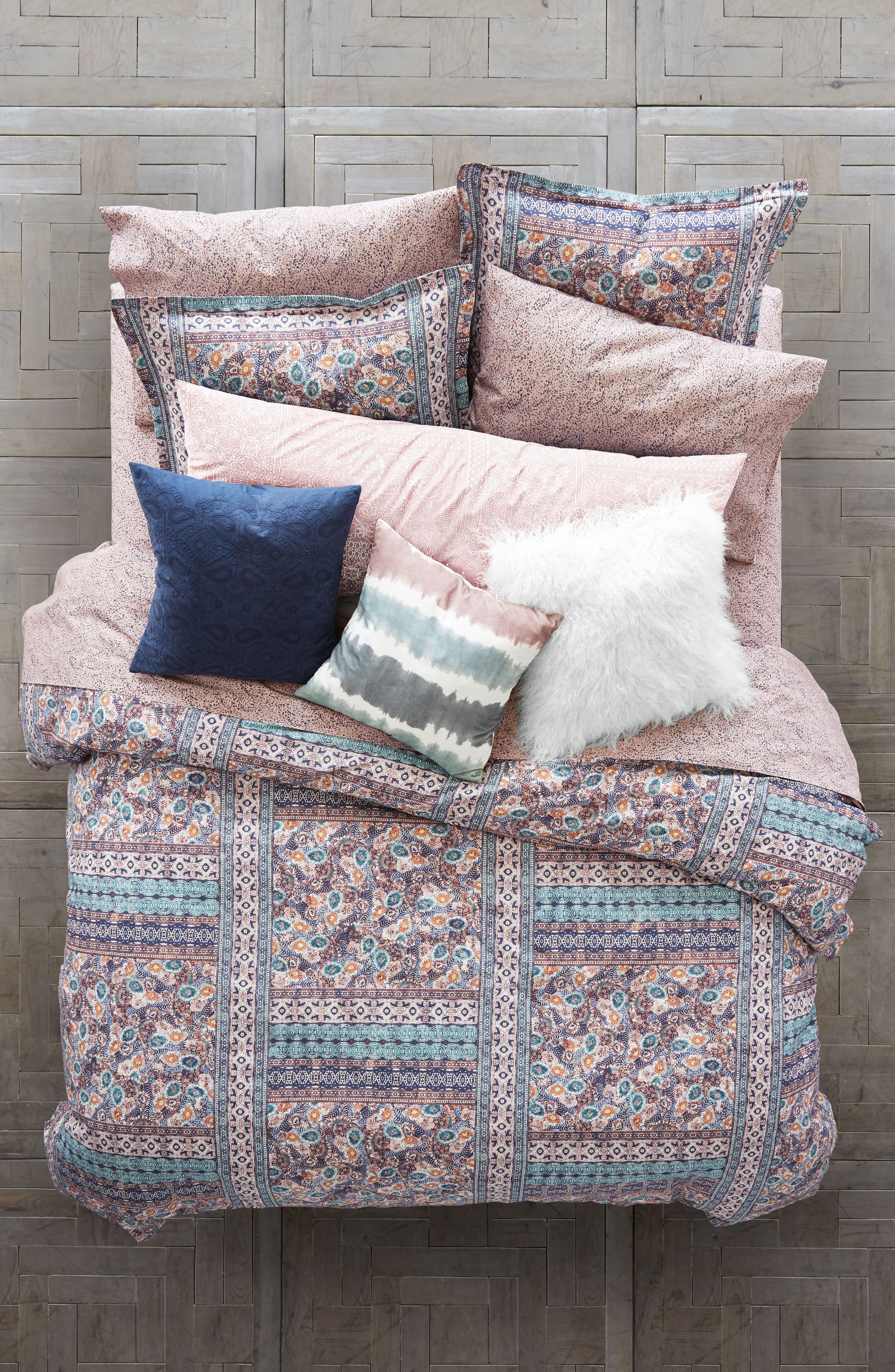 Batik Floral Comforter & Sham Set,                         Main,                         color, Mauve