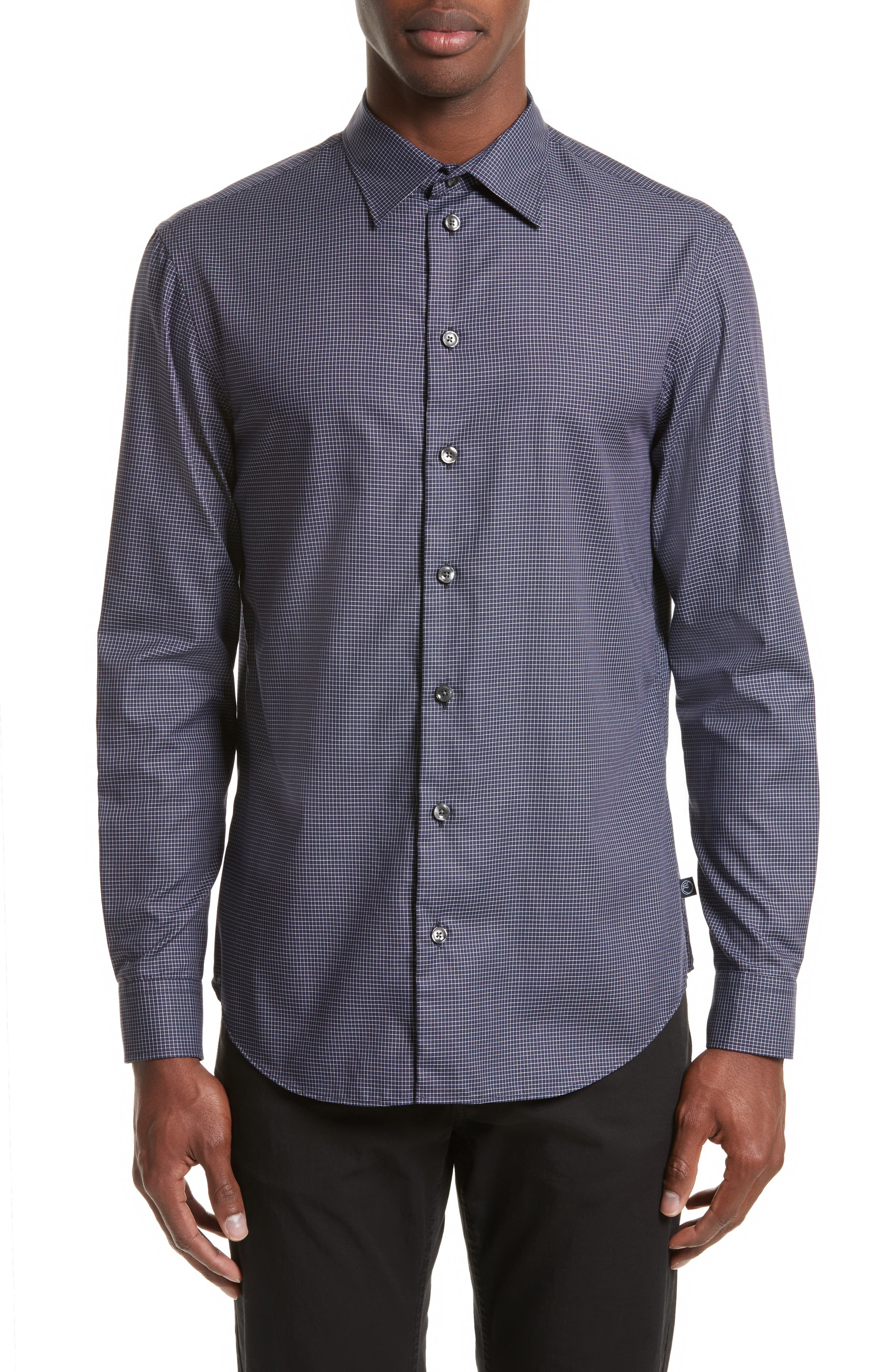 Slim Fit Grid Print Sport Shirt,                         Main,                         color, Navy