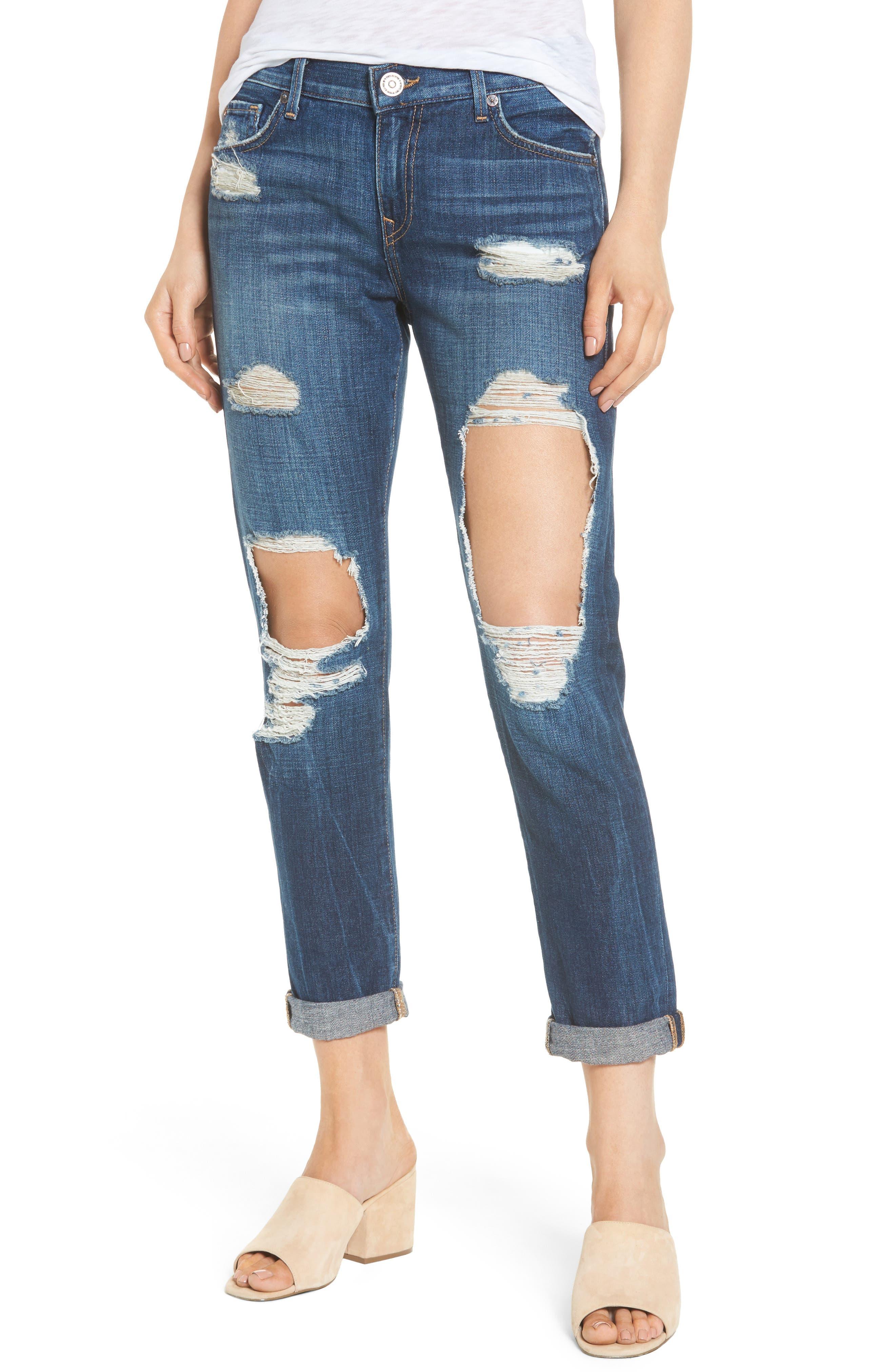True Religion Brand Jeans Cameron Destroyed Boyfriend Jeans (Celestial Sky)