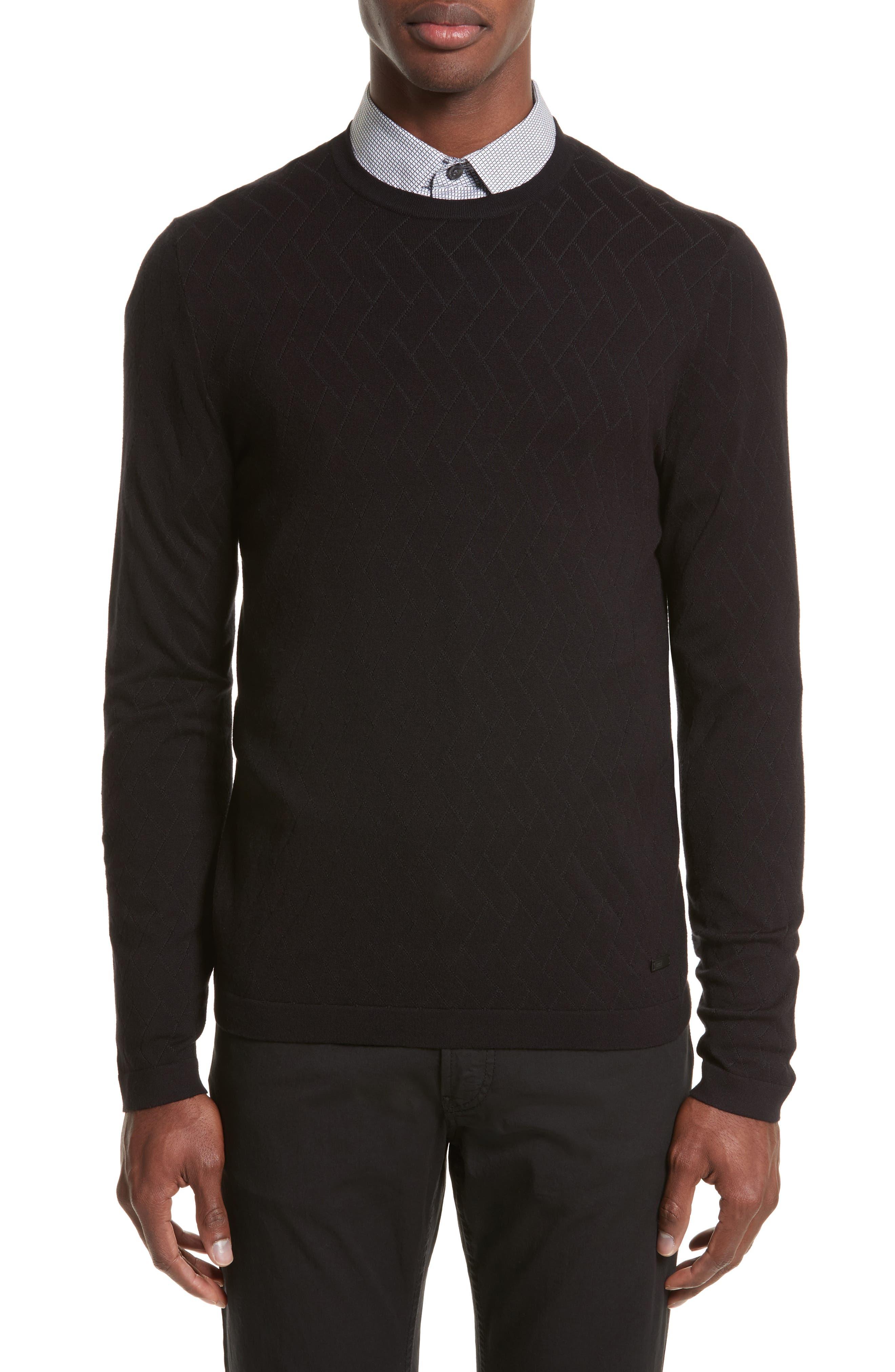 Plated Crewneck Sweater,                             Main thumbnail 1, color,                             Black