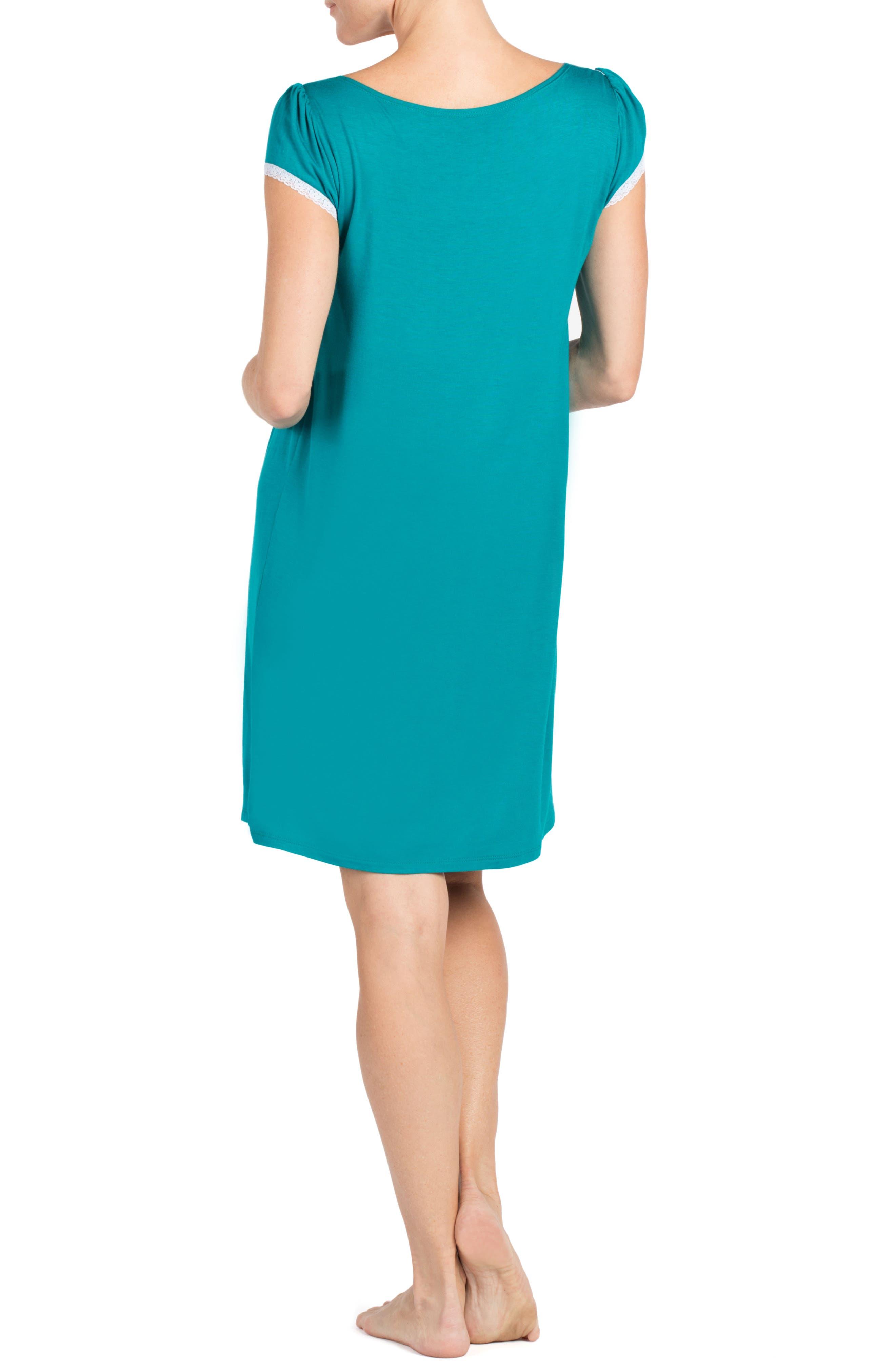 Joliet Maternity/Nursing Nightgown,                             Alternate thumbnail 2, color,                             Dark Jade