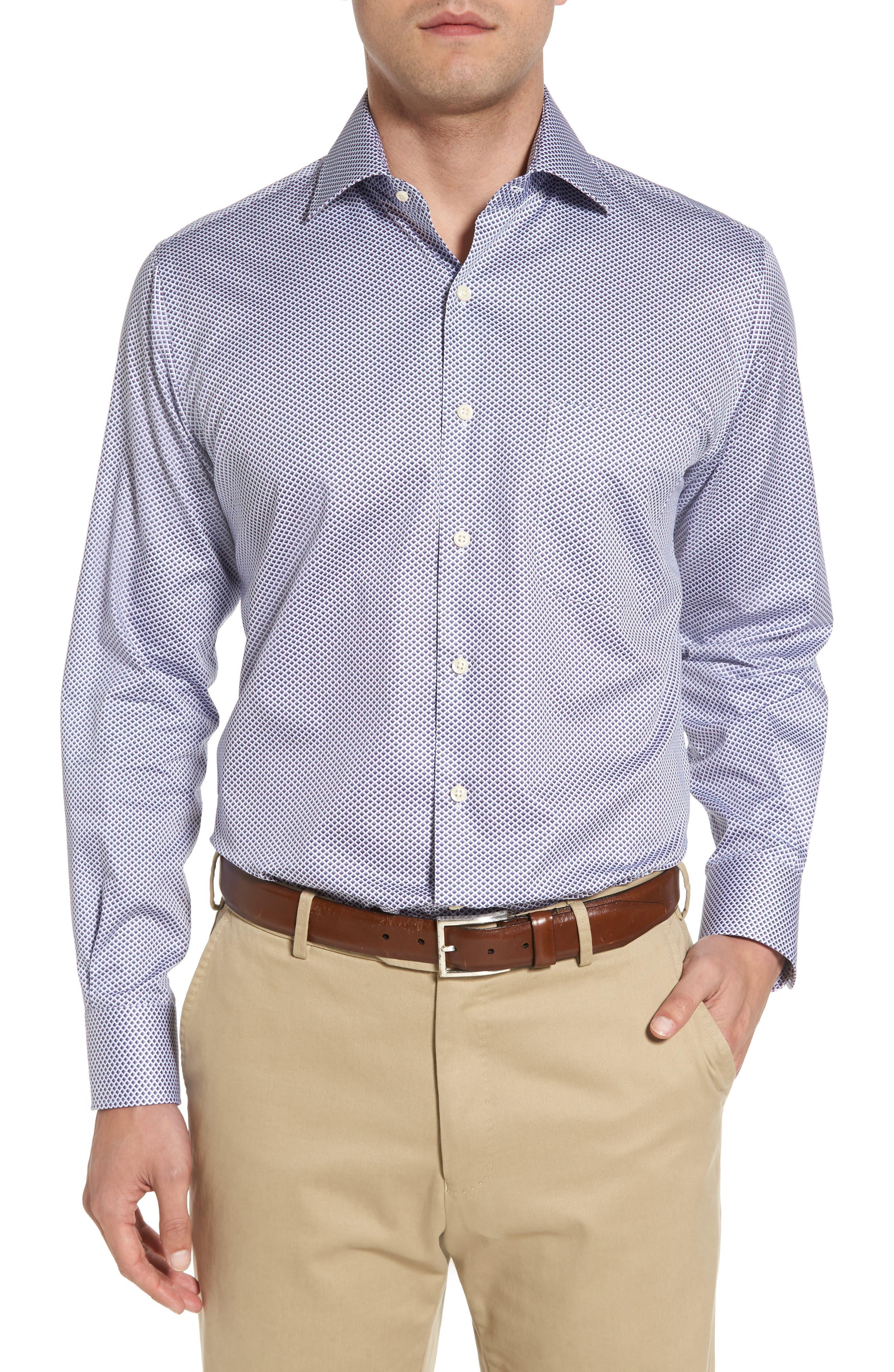 Geometric Horizon Sport Shirt,                         Main,                         color, Fire Thorn