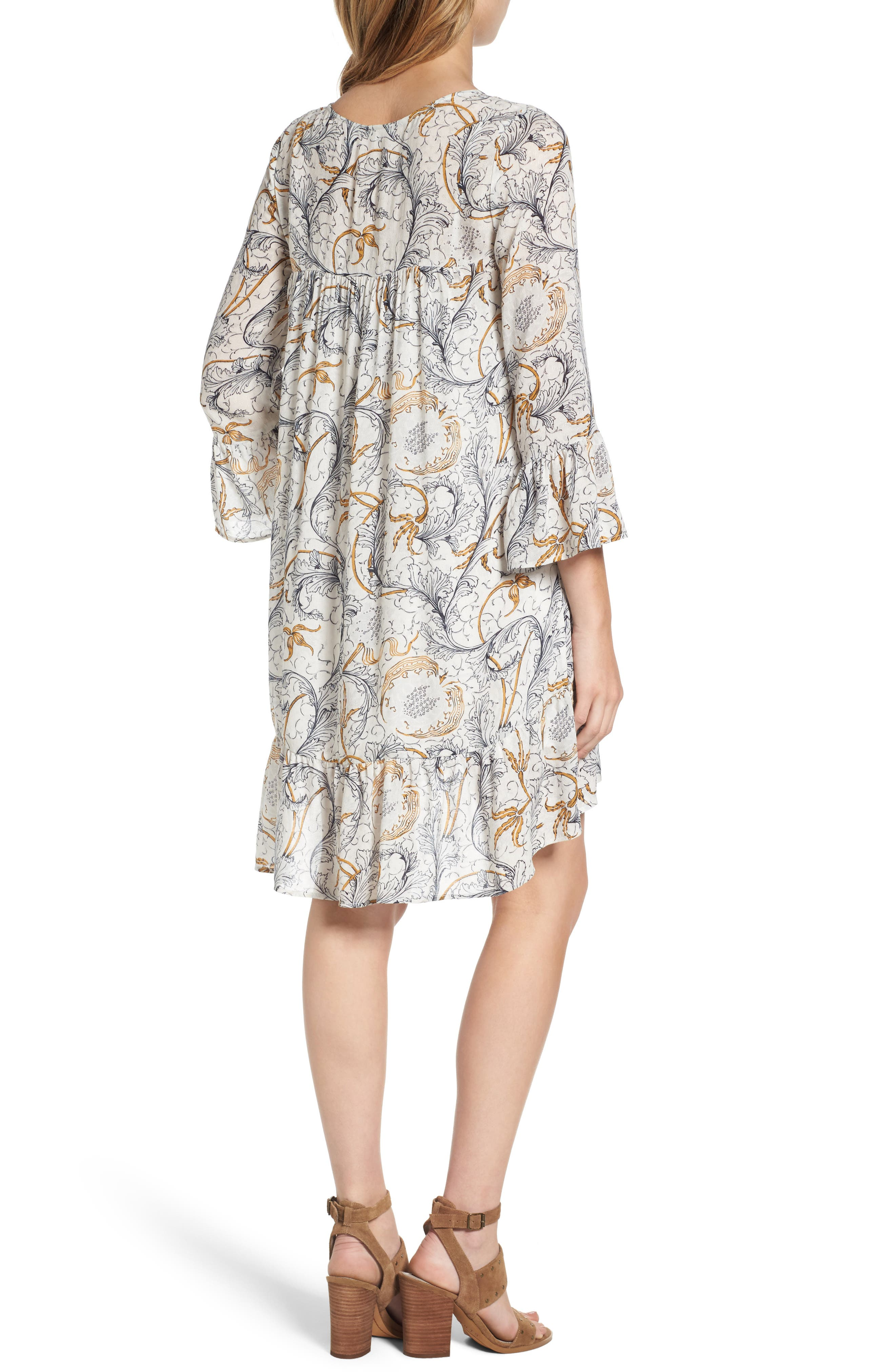 Ruffle Print Dress,                             Alternate thumbnail 2, color,                             Grey Fog Feathered Floral