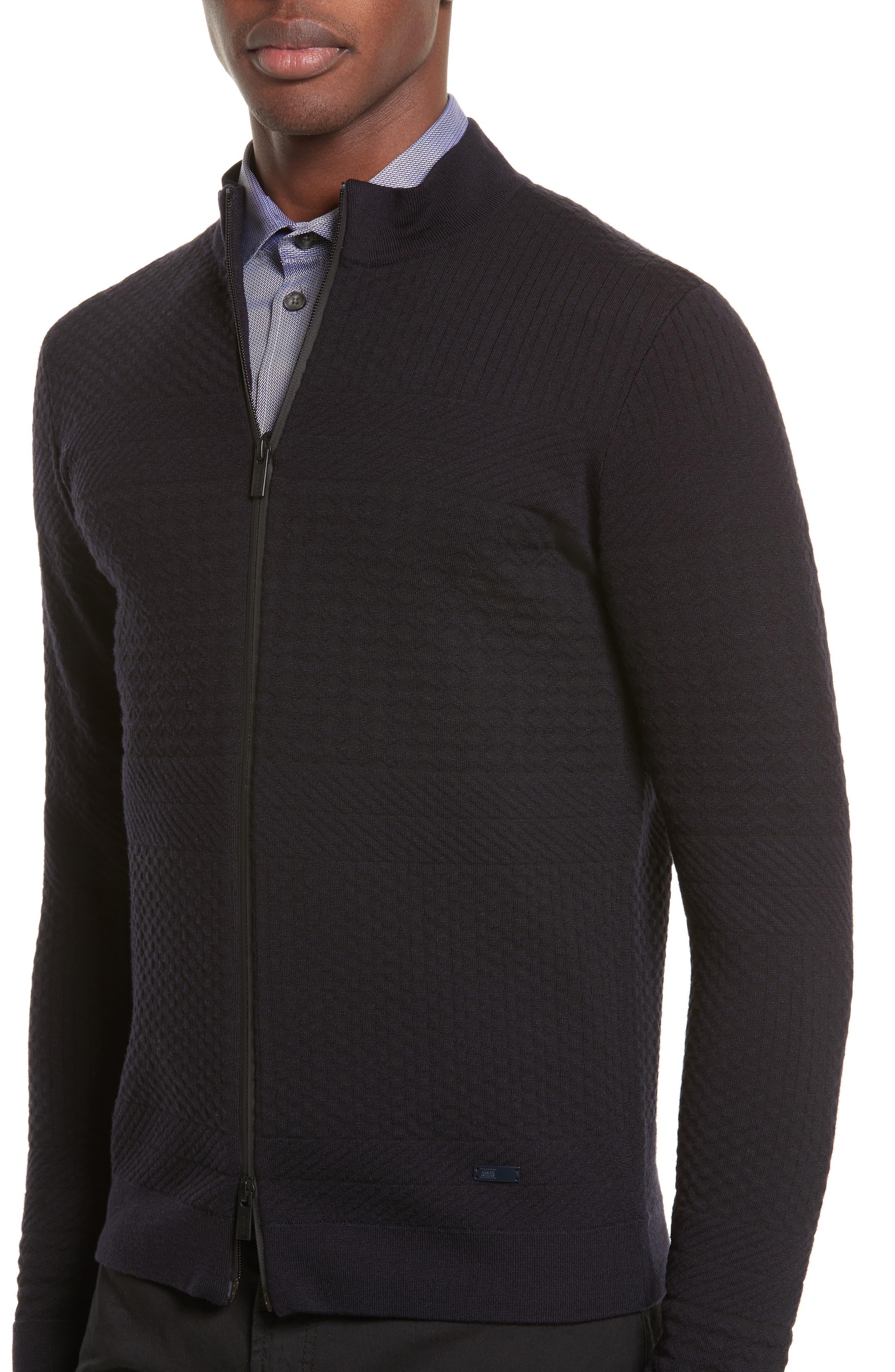 Alternate Image 4  - Armani Collezioni Full Zip Jacquard Sweater