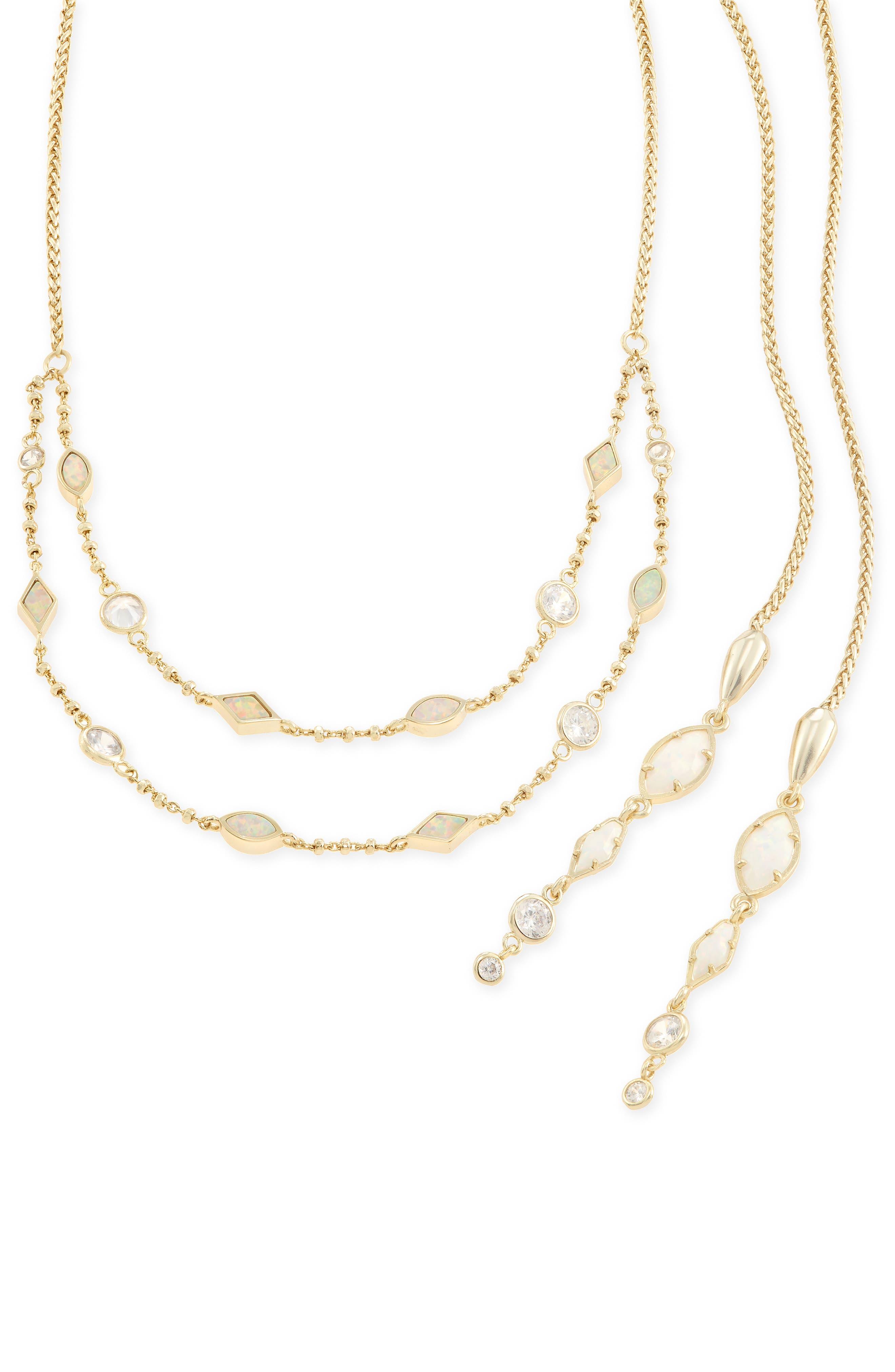 Emelina Wrap Necklace,                             Alternate thumbnail 6, color,                             Ivory Zellige/ Gold