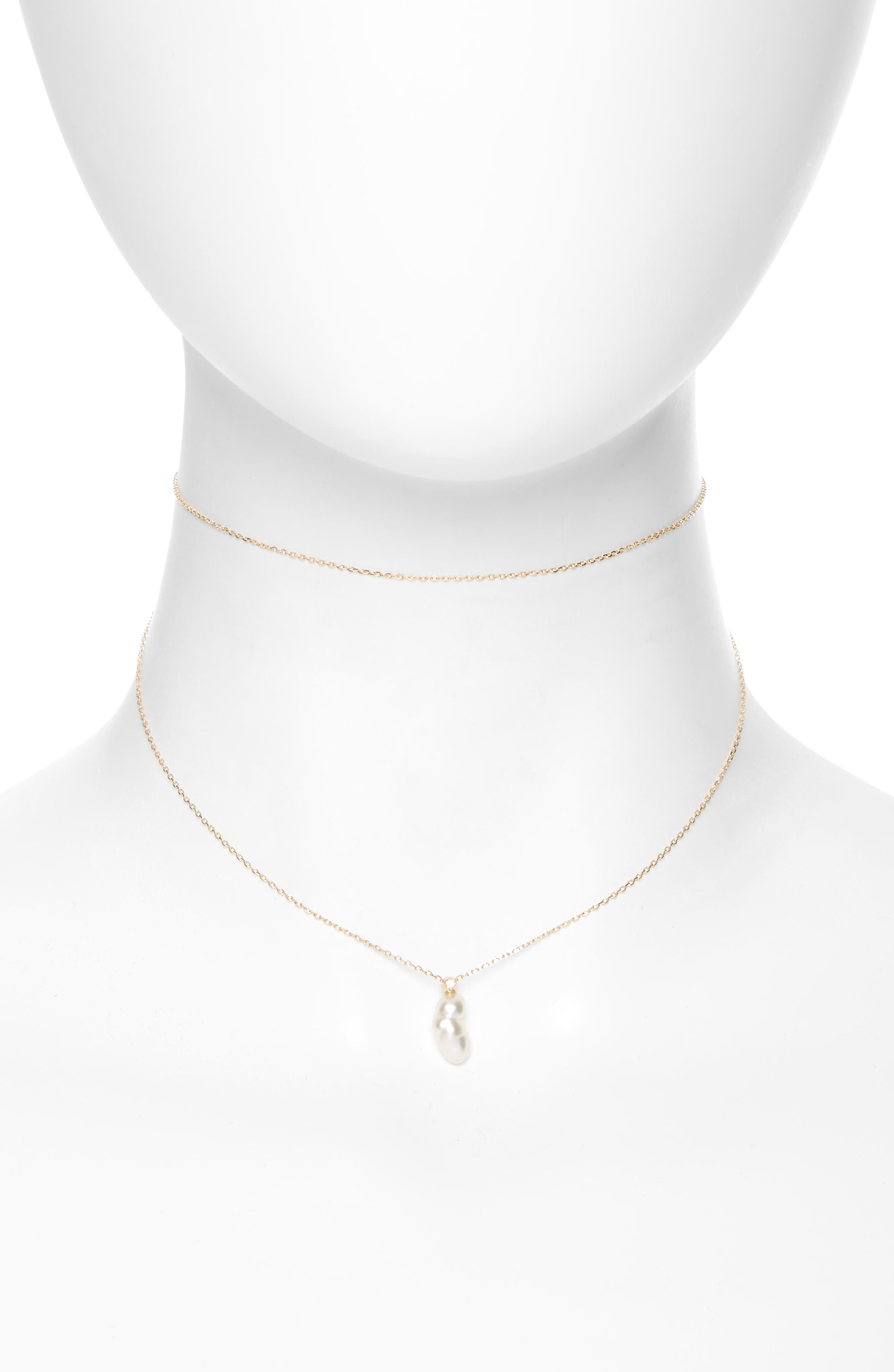 Sea of Beauty Diamond & Keshi Pearl Multistrand Choker,                             Main thumbnail 1, color,                             Yellow Gold/ White Pearl