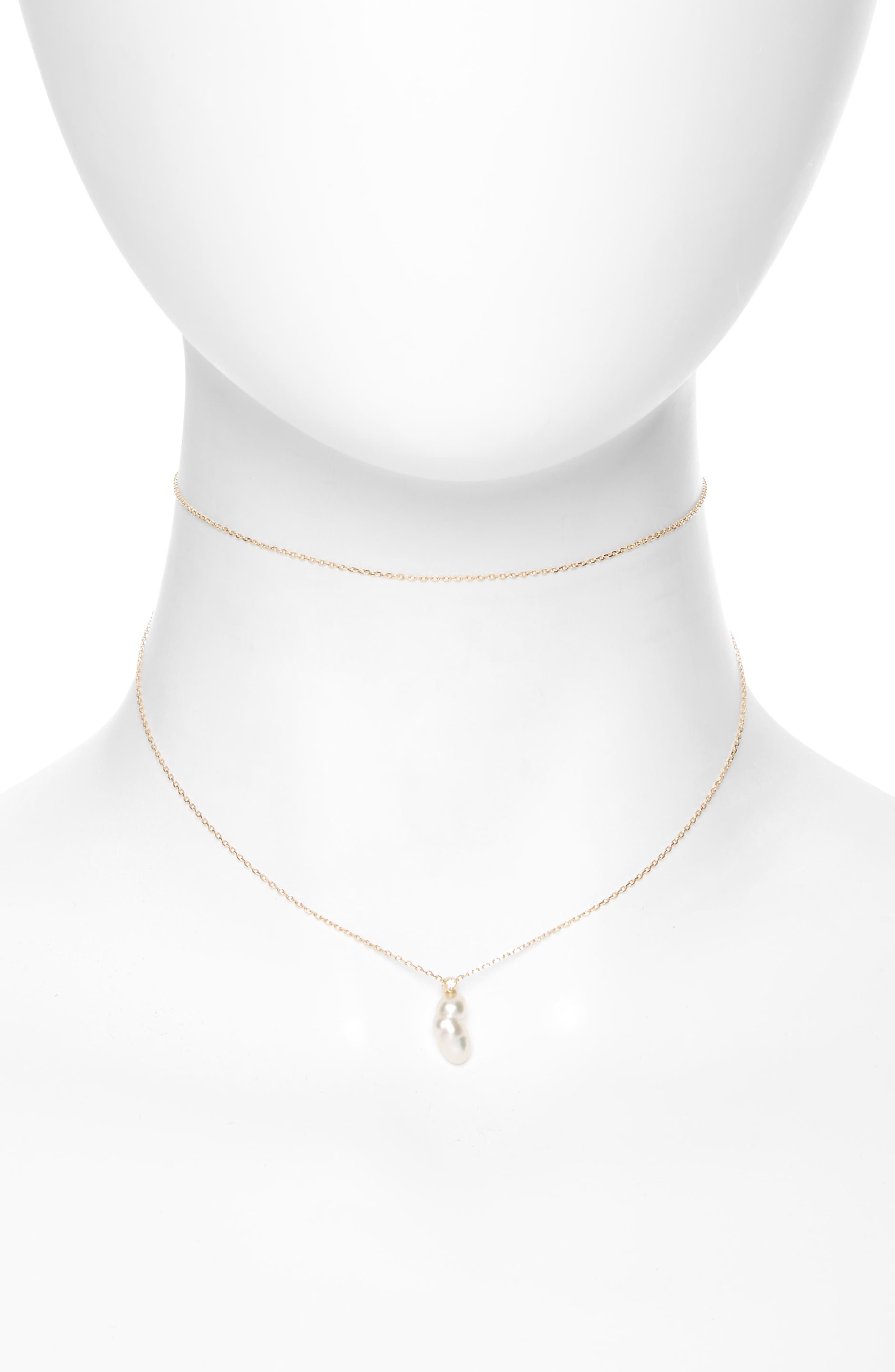 Sea of Beauty Diamond & Keshi Pearl Multistrand Choker,                         Main,                         color, Yellow Gold/ White Pearl