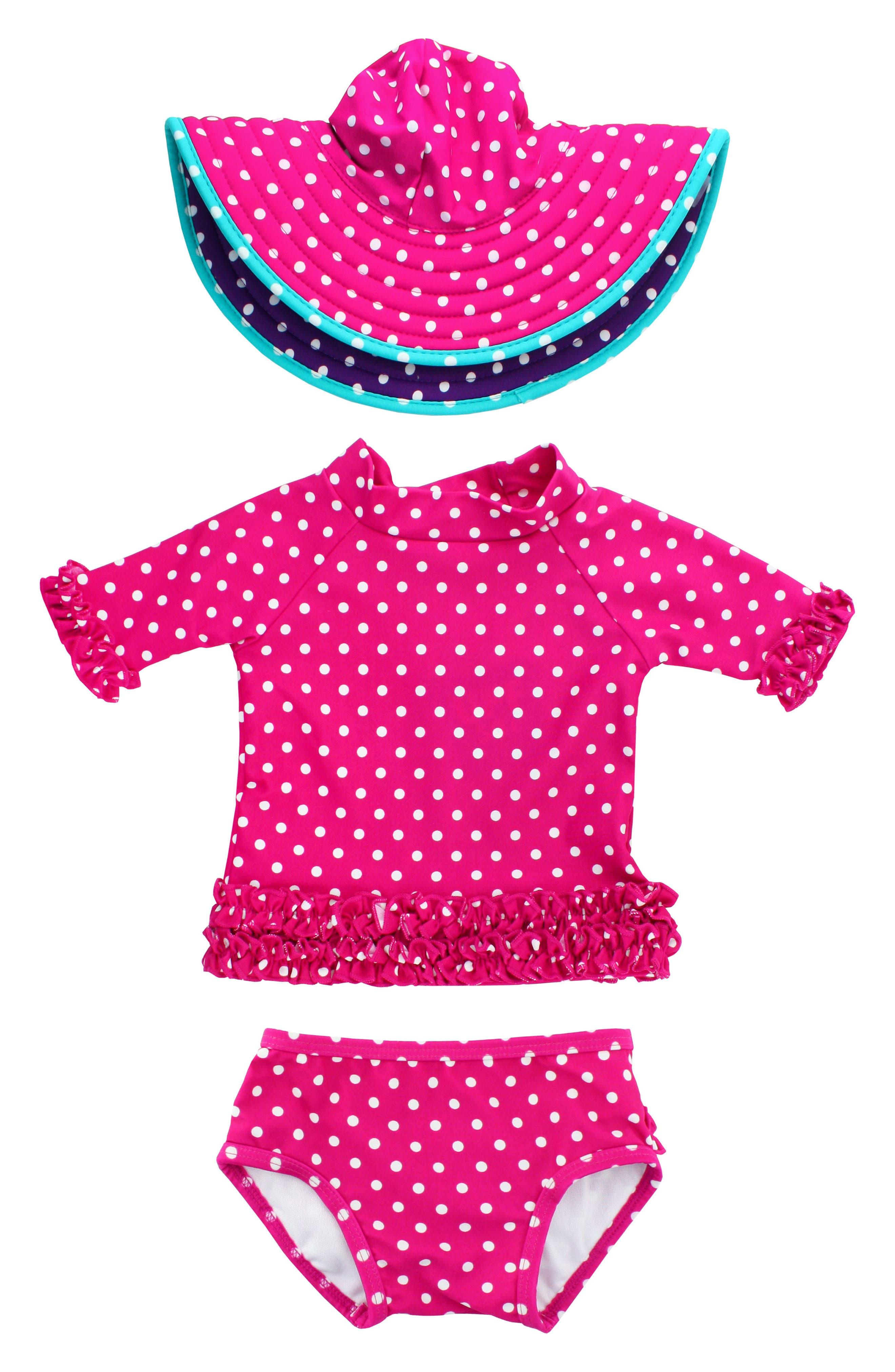 Two-Piece Rashguard Swimsuit & Hat Set,                         Main,                         color, Berry