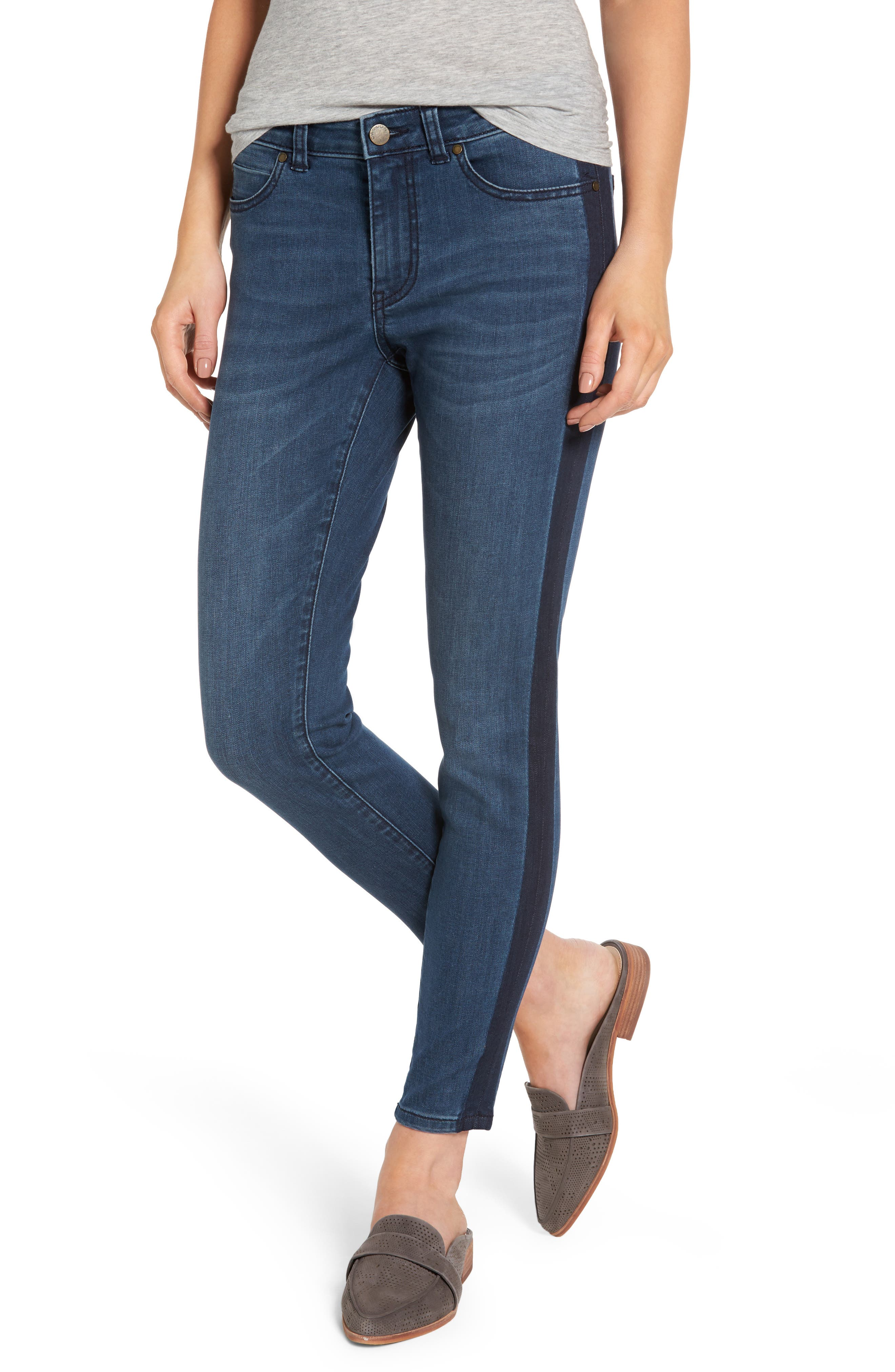 Caslon® Side Panel Skinny Ankle Jeans (Blue Amara) (Regular & Petite)