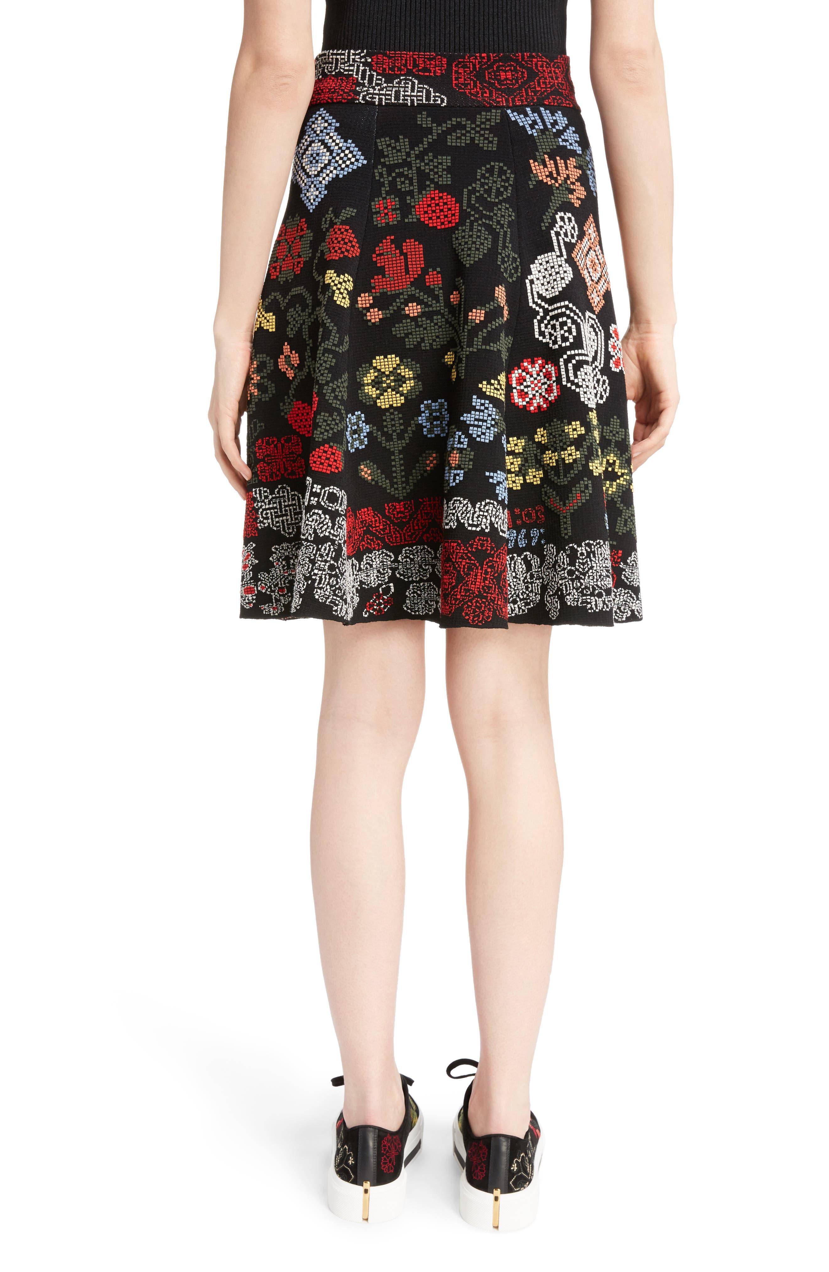 Cross Stitch Jacquard Skirt,                             Alternate thumbnail 2, color,                             Black Multi