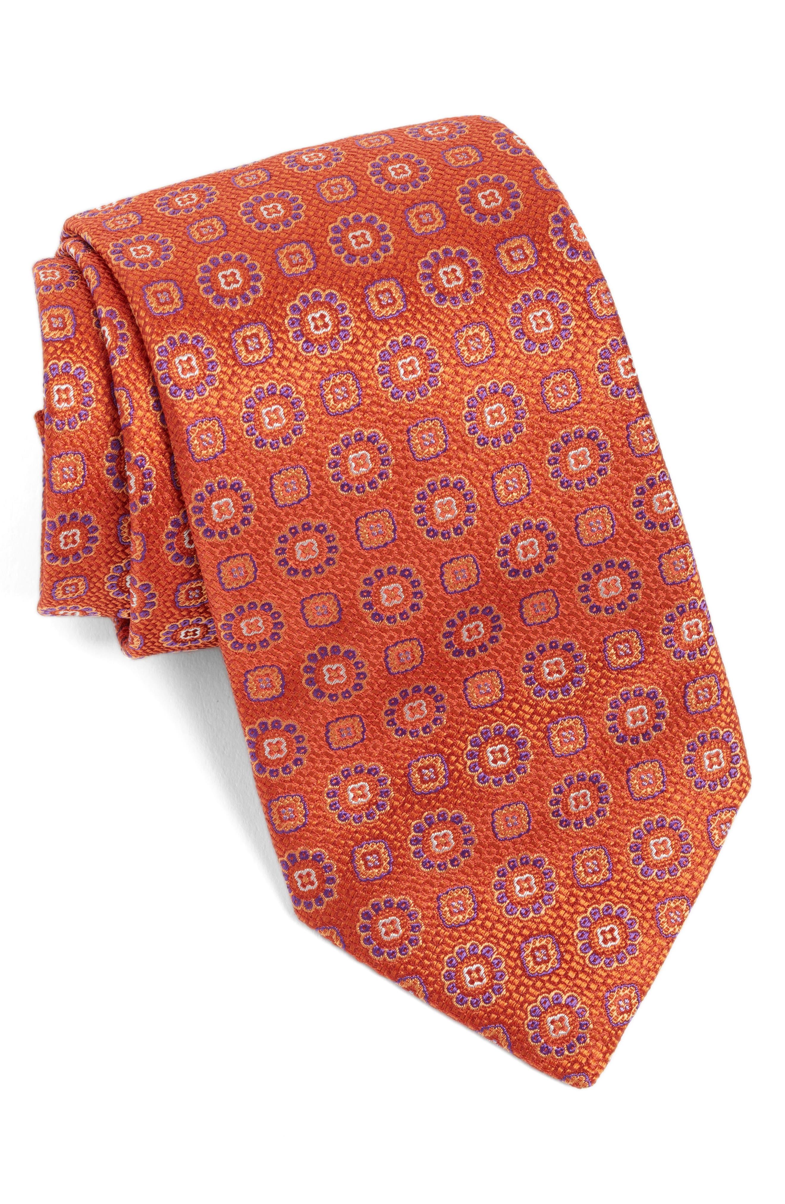 Medallion Silk Tie,                         Main,                         color, Melon