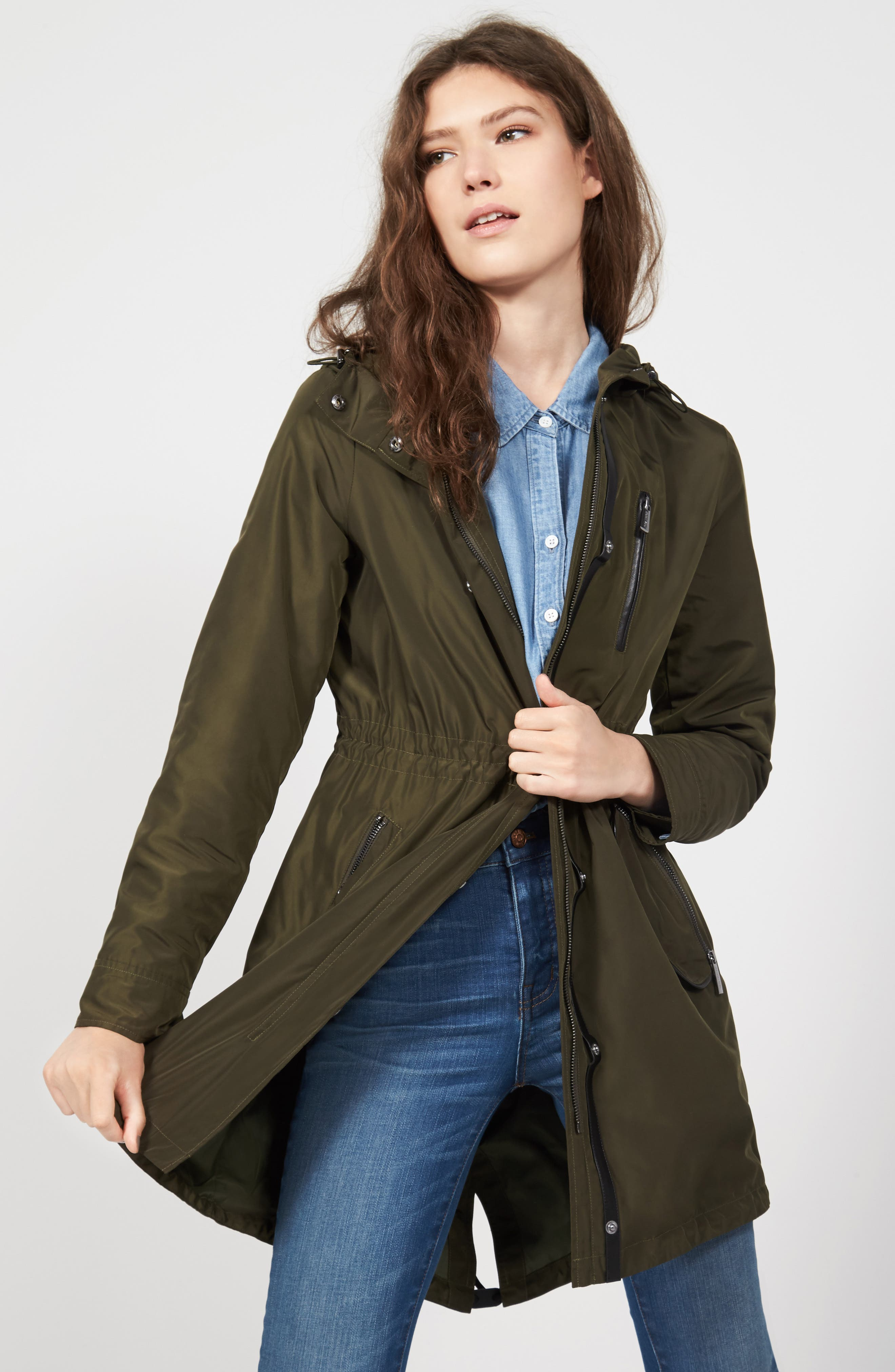 Hooded Drawstring Long Coat,                             Alternate thumbnail 2, color,                             Olive