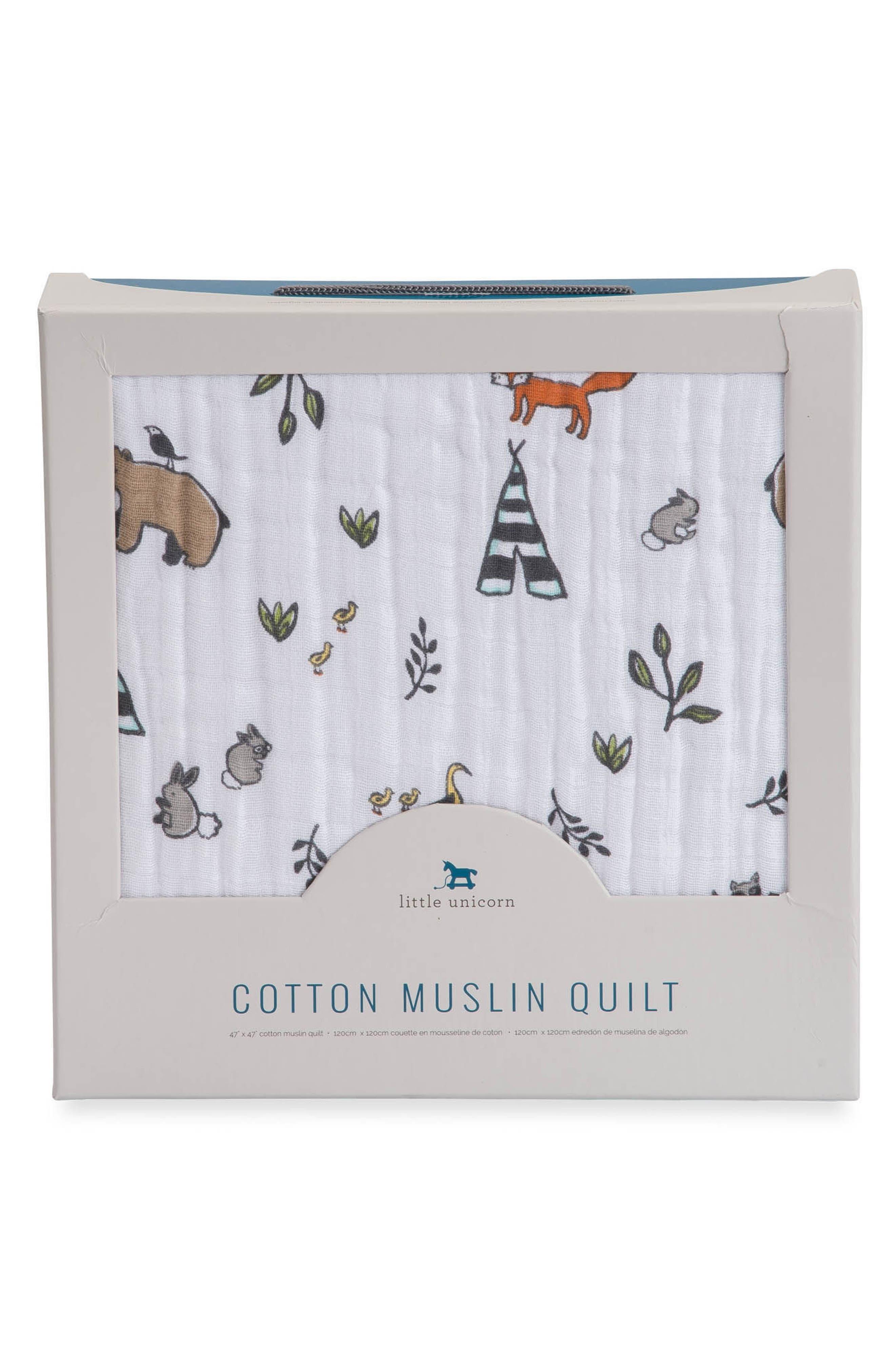 Cotton Muslin Quilt,                             Alternate thumbnail 3, color,                             Forest Friends