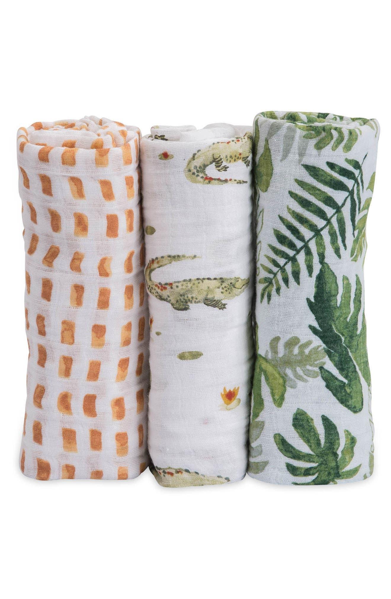 little unicorn 3-Pack Cotton Muslin Blankets