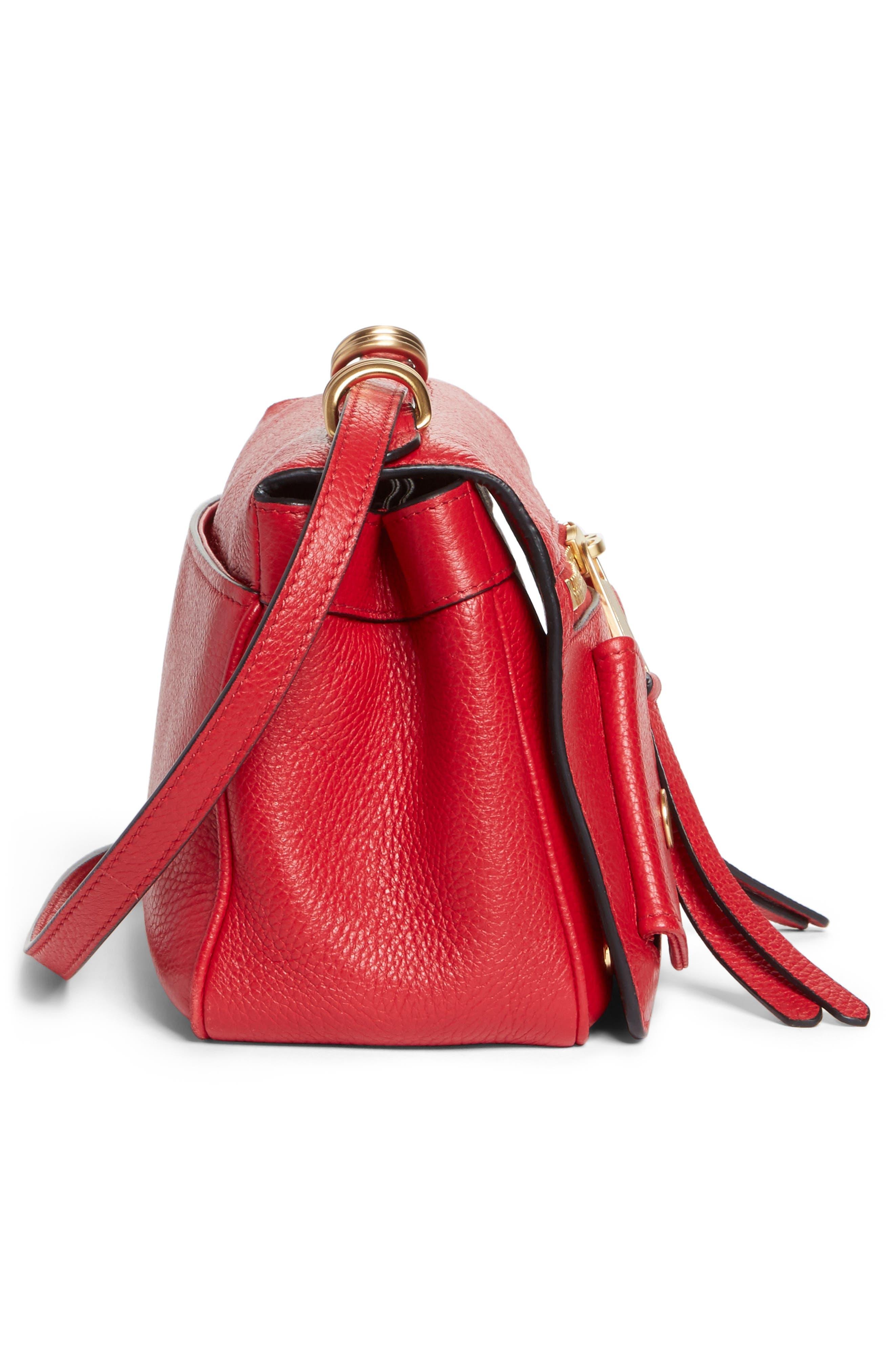 Grainy-B Leather Crossbody Bag,                             Alternate thumbnail 5, color,                             Red