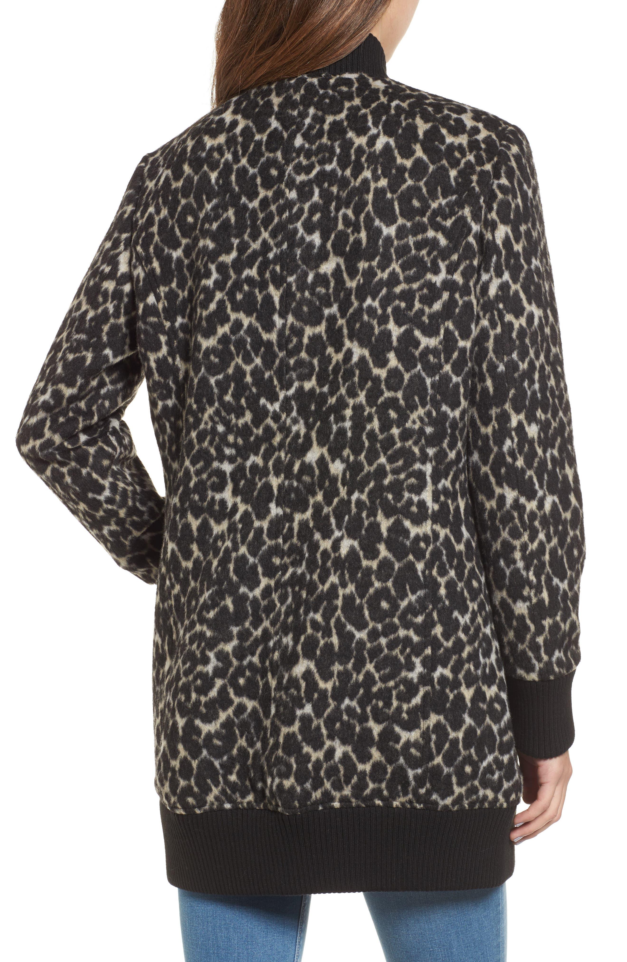 Leopard Print Longline Bomber Jacket,                             Alternate thumbnail 2, color,                             Cream Leopard