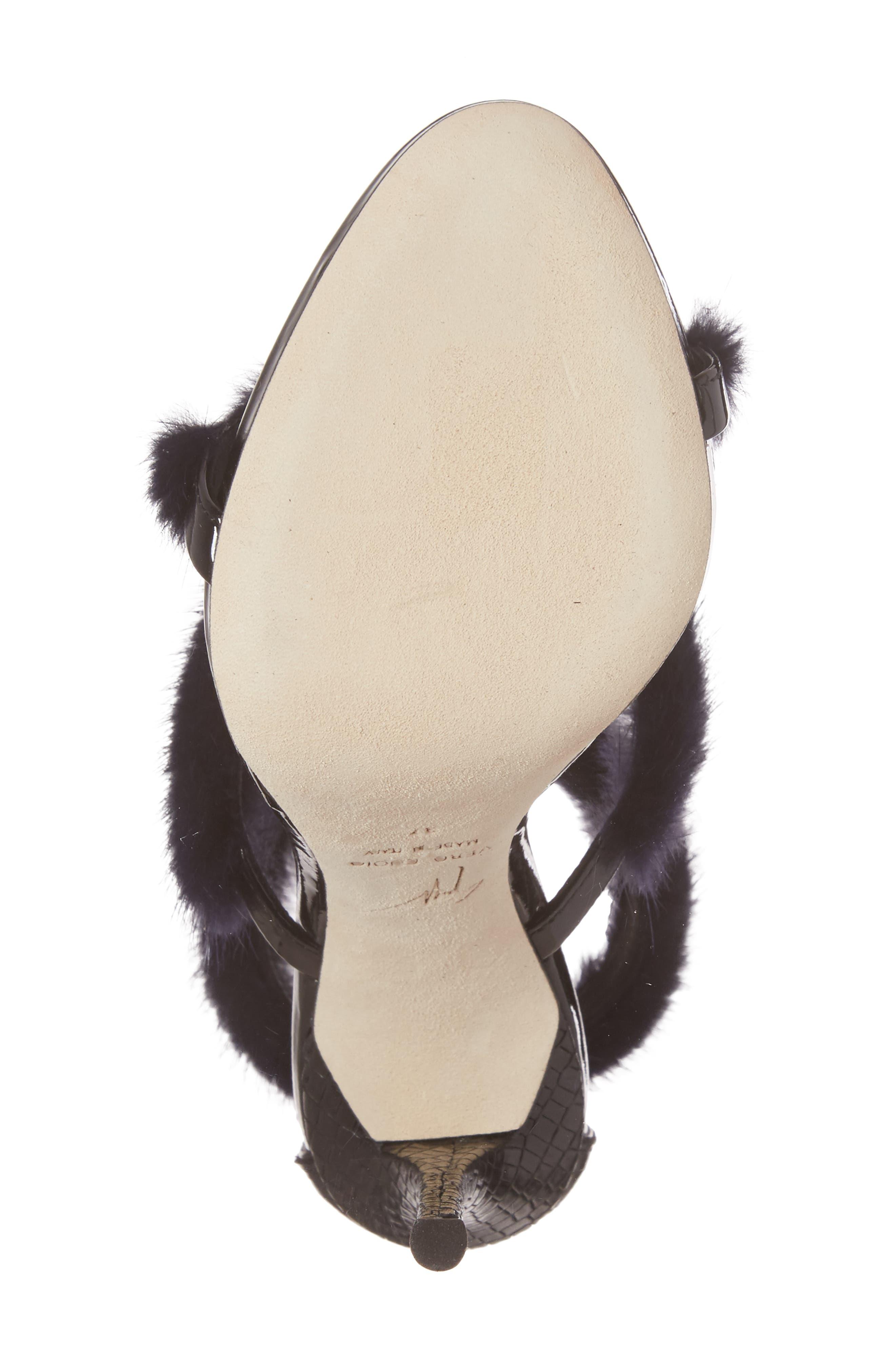 Genuine Mink Fur Triple Band Sandal,                             Alternate thumbnail 6, color,                             Navy/ Black