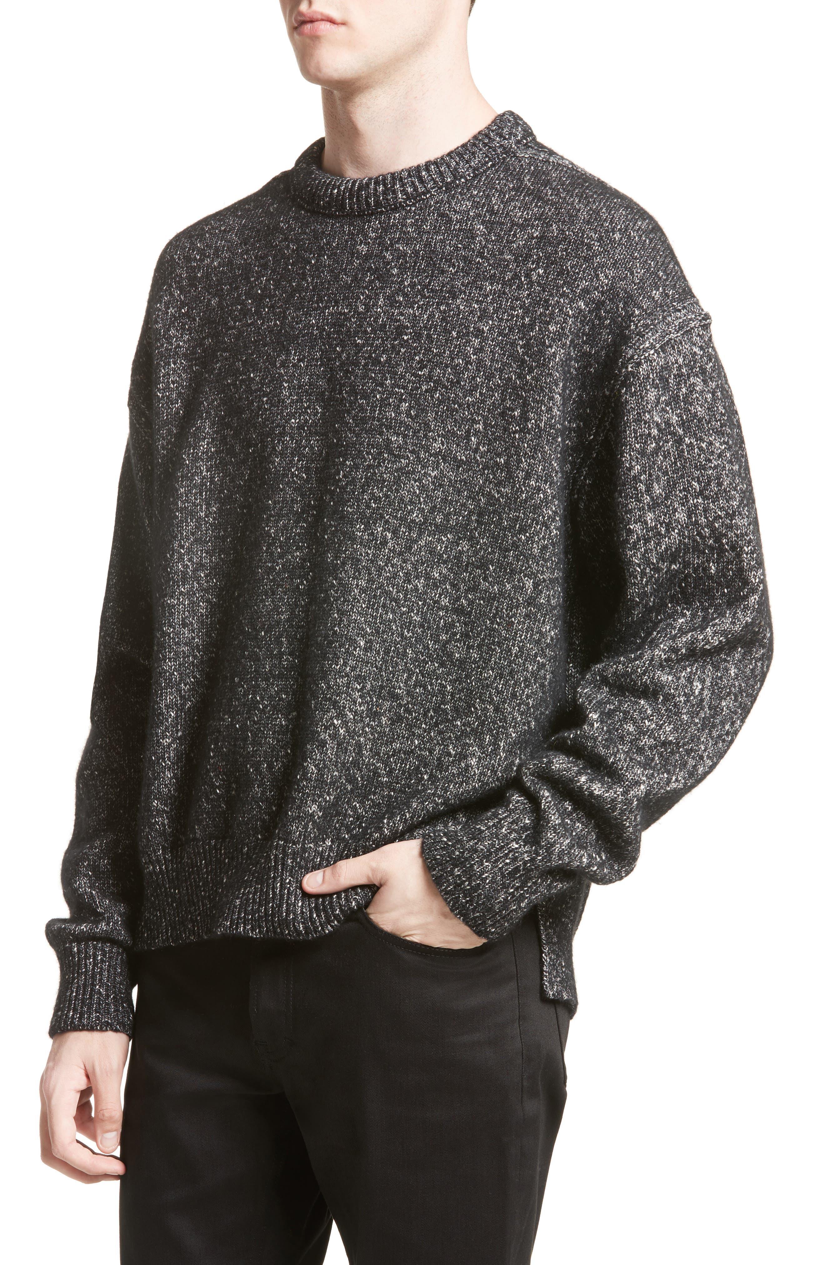 Nole Mélange Sweater,                             Alternate thumbnail 4, color,                             Black