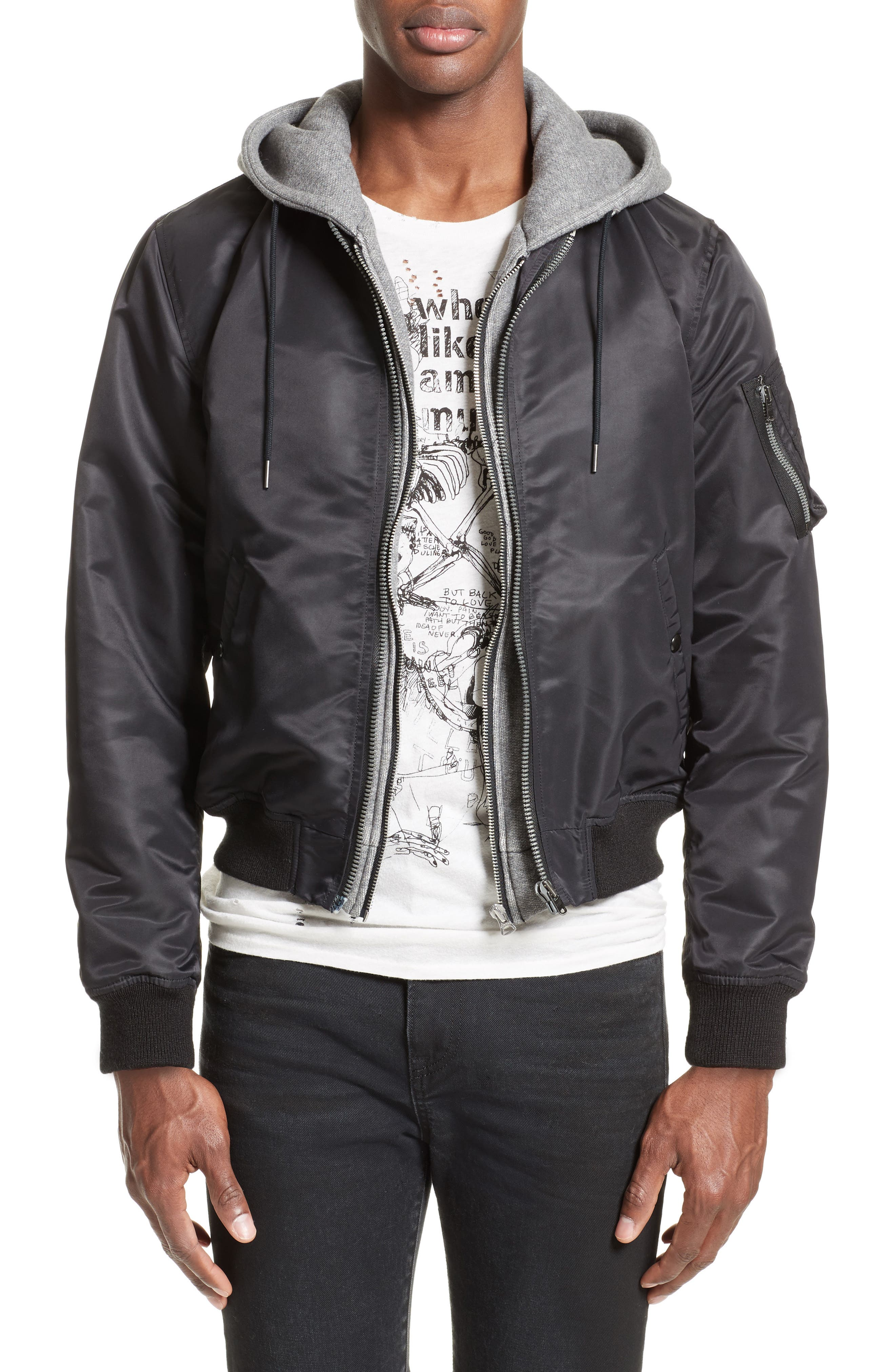 Flight Jacket with Hoodie,                             Main thumbnail 1, color,                             Black