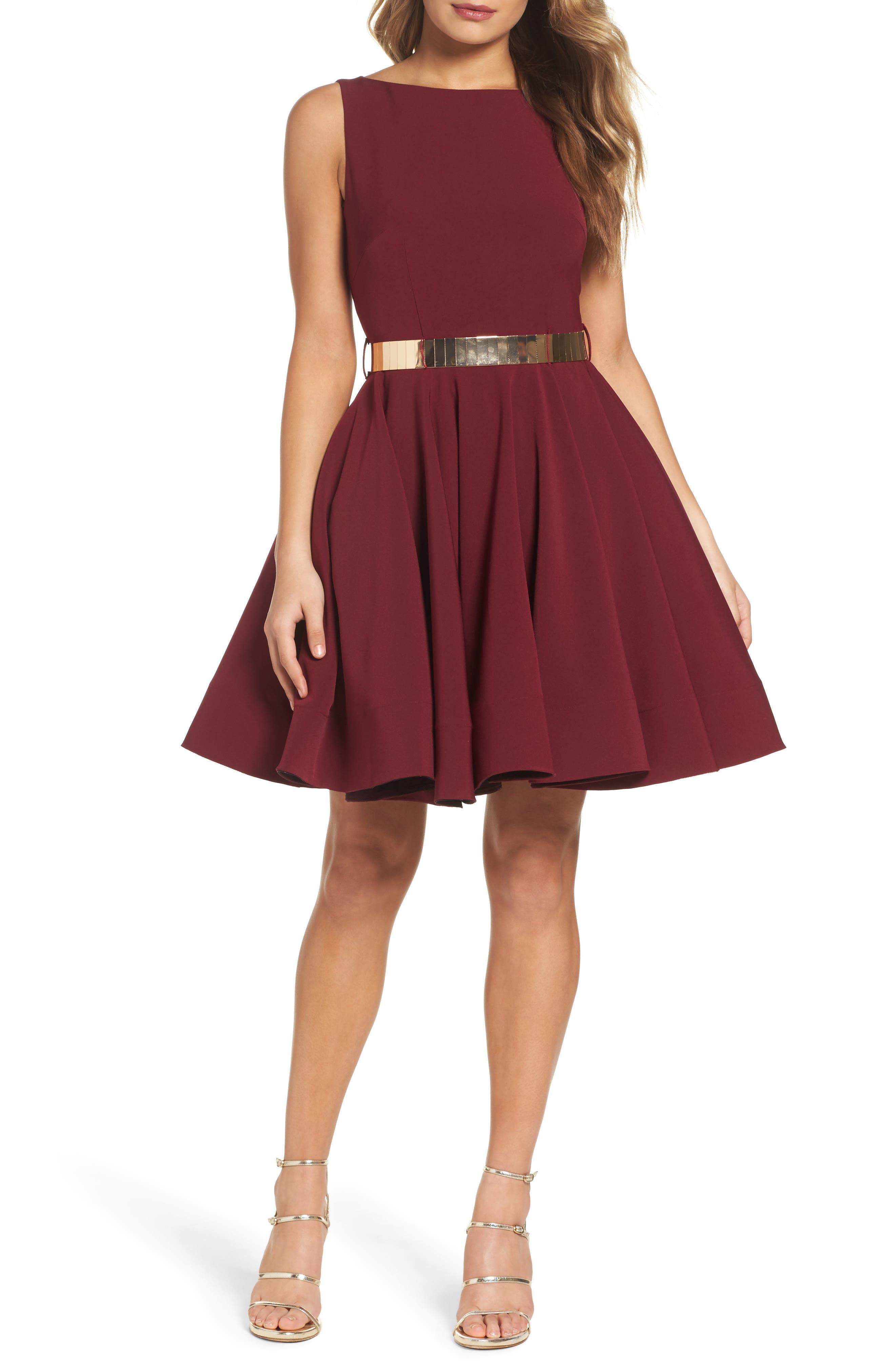 Belted Fit & Flare Dress,                             Main thumbnail 1, color,                             Wine