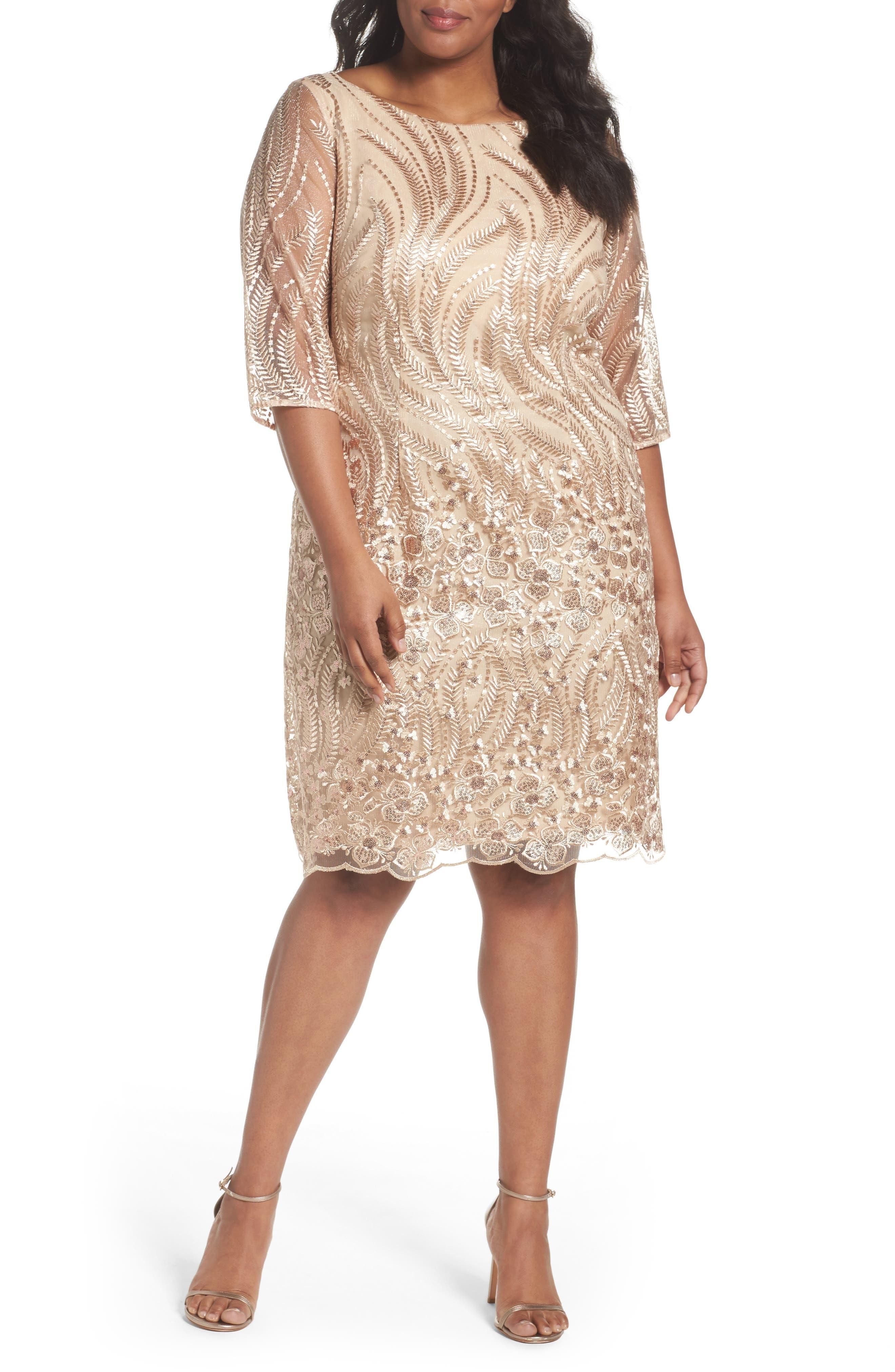Embellished Sheath Dress,                             Main thumbnail 1, color,                             Champagne