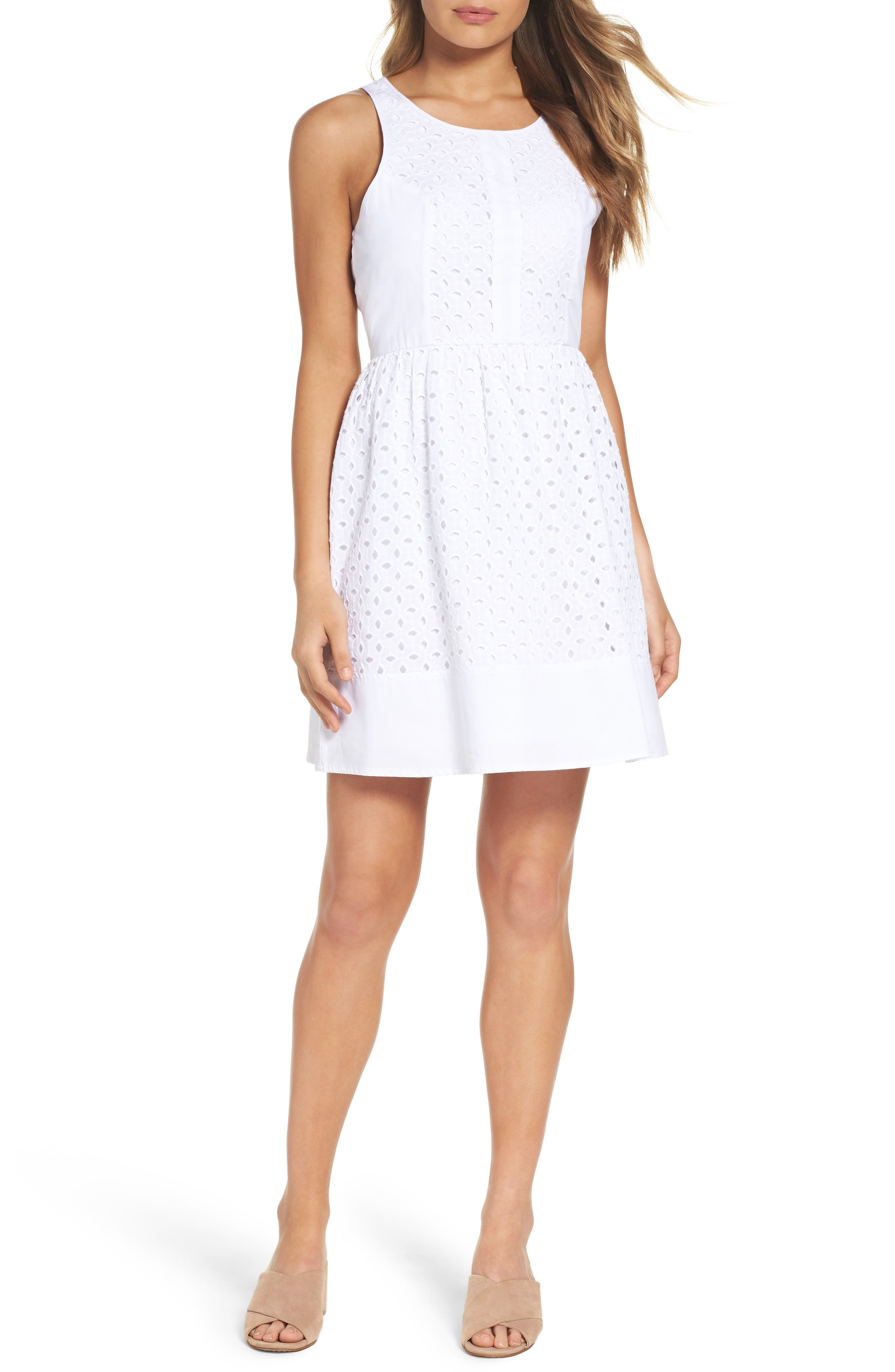 Eyelet Fit & Flare Dress,                             Main thumbnail 1, color,                             White