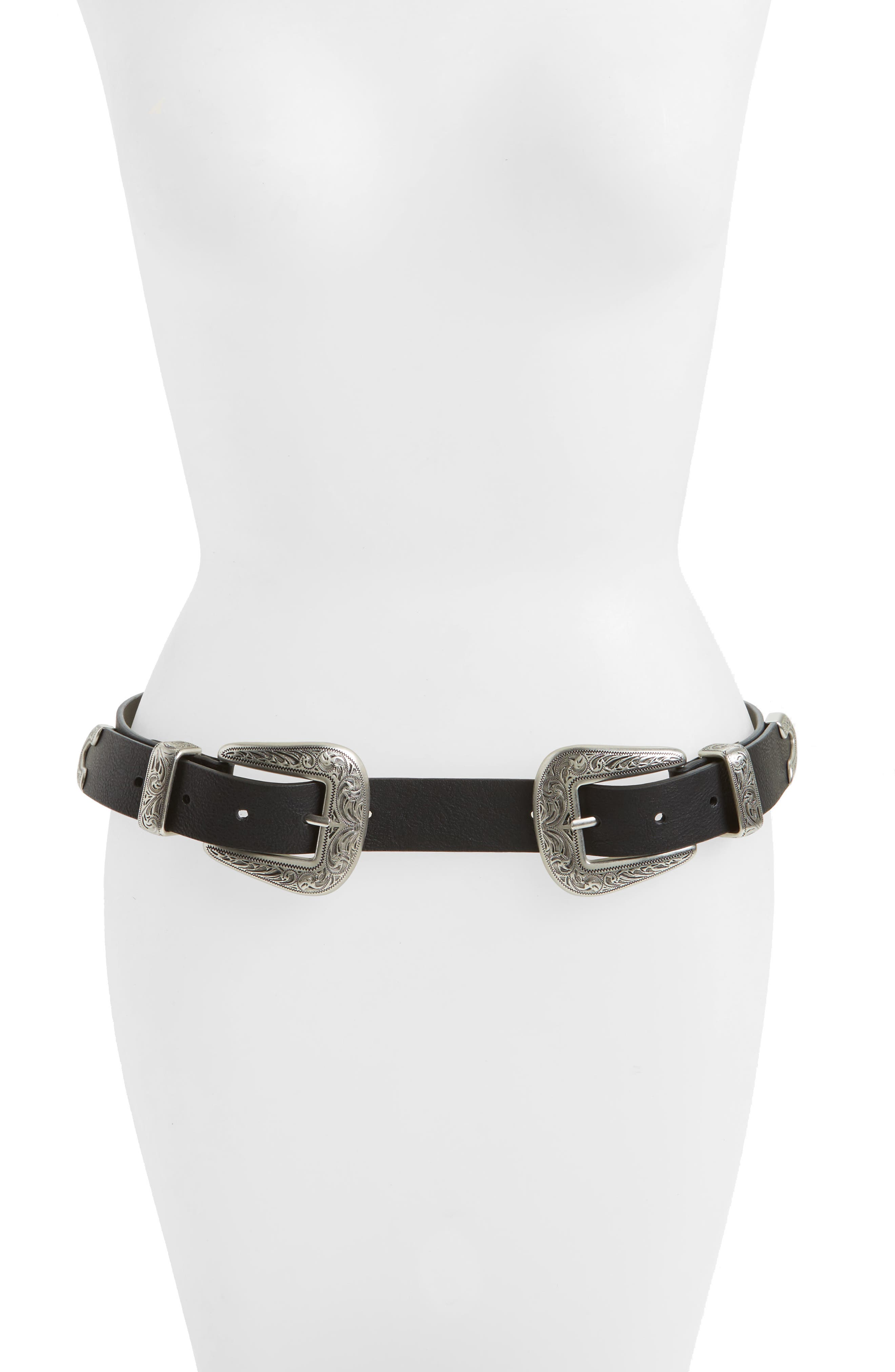 Alternate Image 1 Selected - Topshop Double Buckle Faux Leather Western Belt